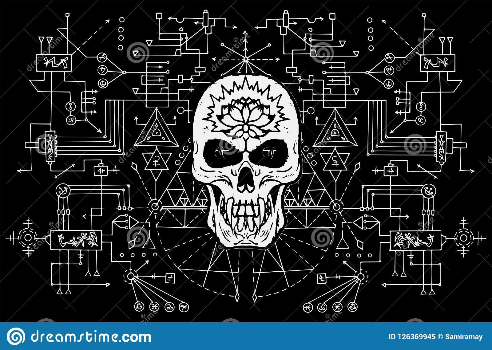 Book Cover Background Music : Evil skull against sacred black and white geometry