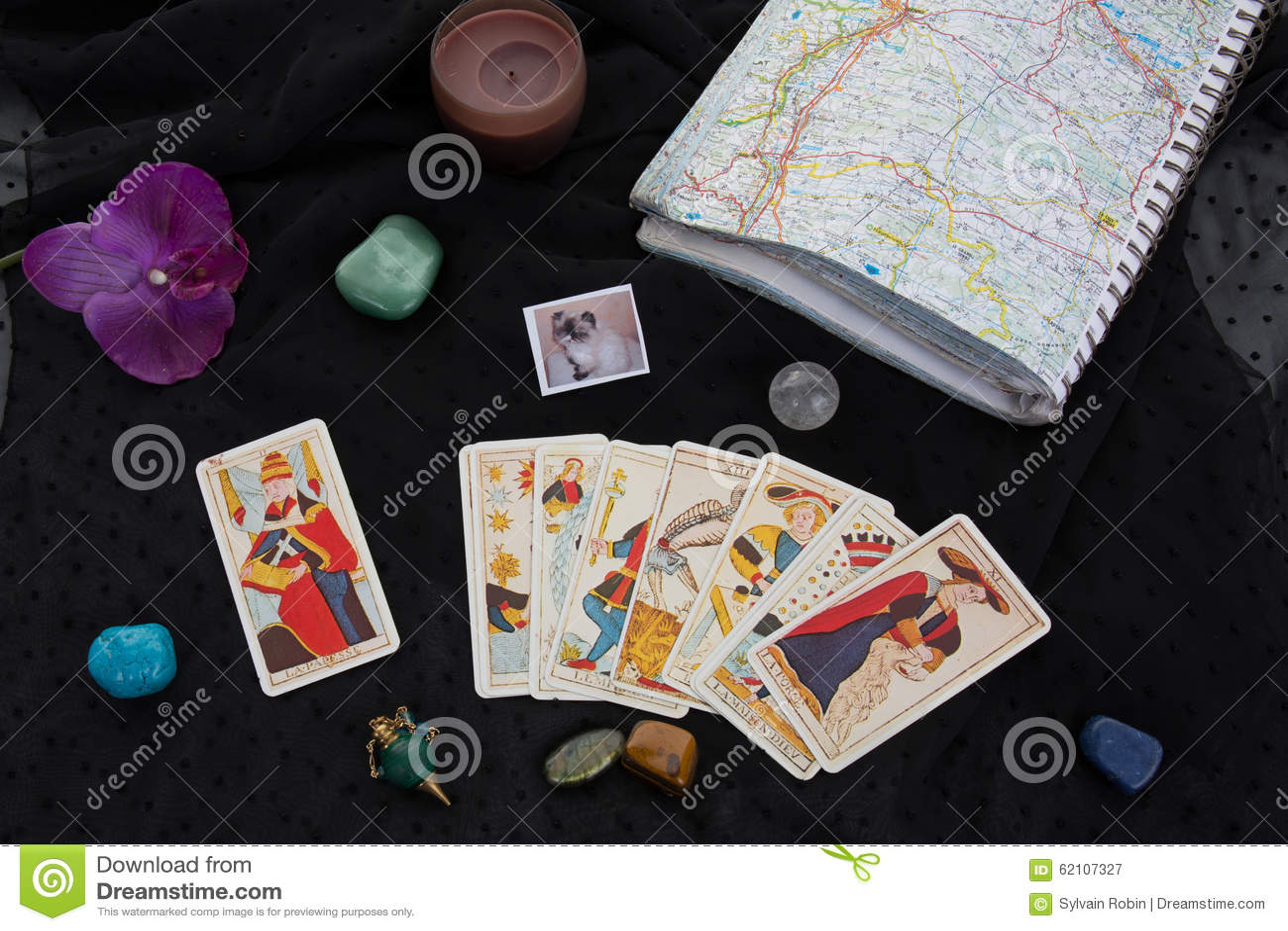 Esoteric Table With Astrological Wheel, Magic Pendulum, Tarots