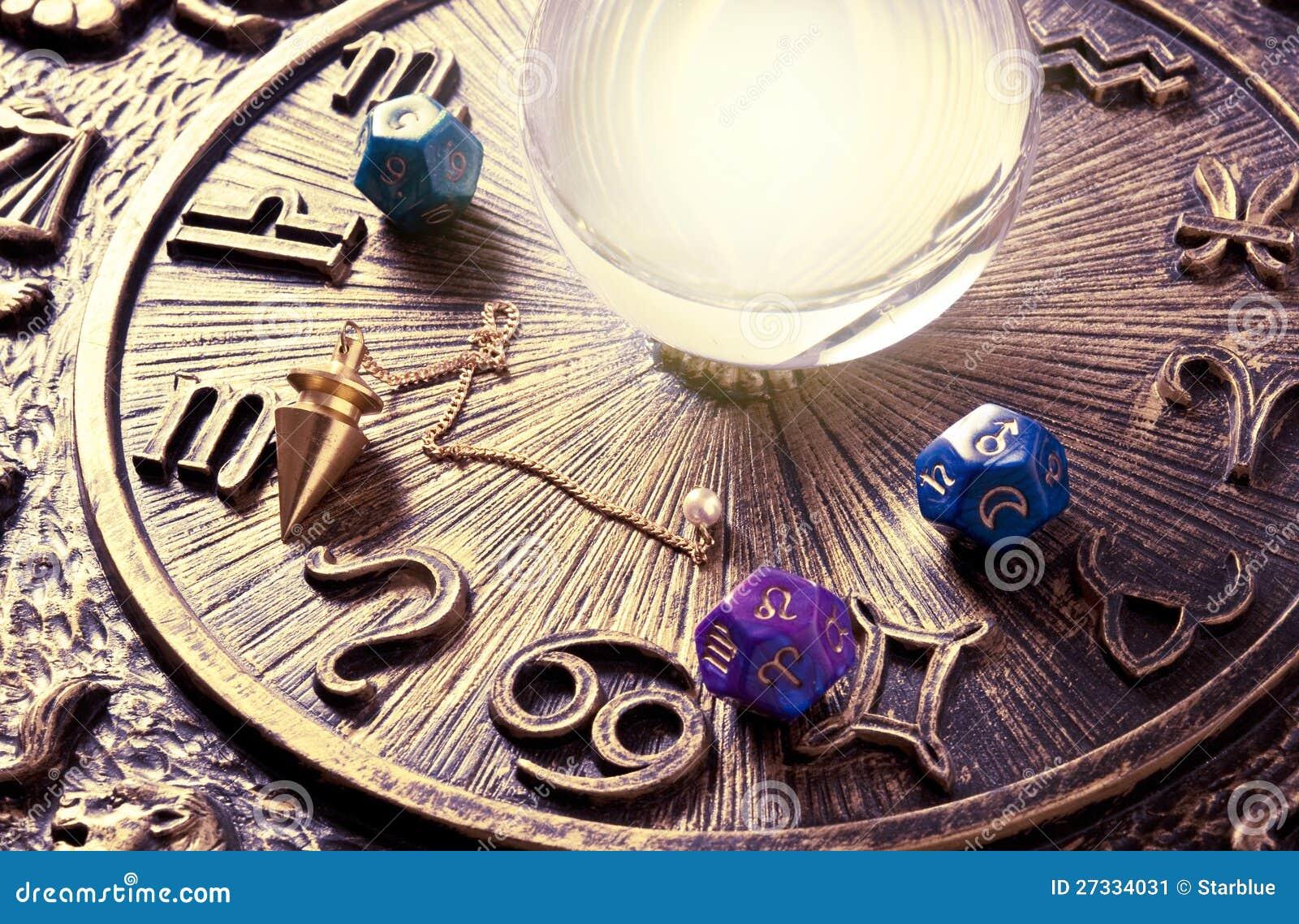 Esoteric tools stock illustration. Image of pendulum ... Crystal Ball Fortune Teller