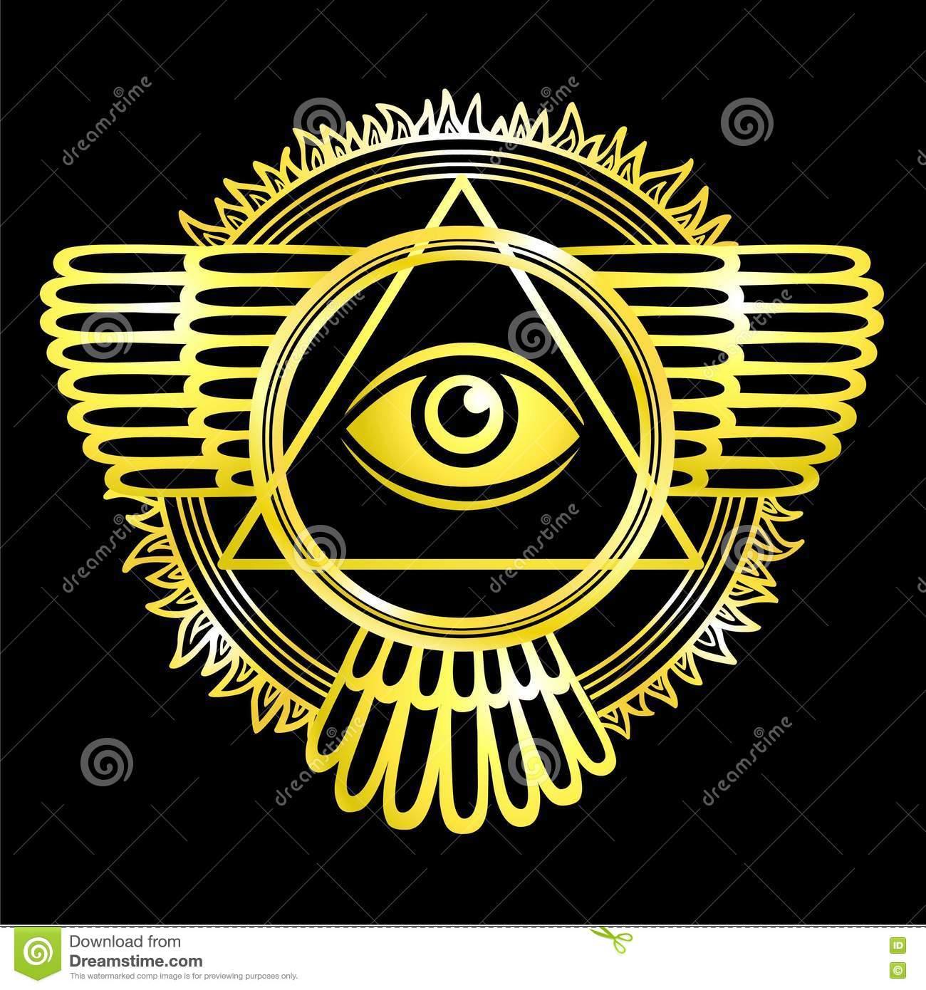Esoteric winged sign of a pyramid.