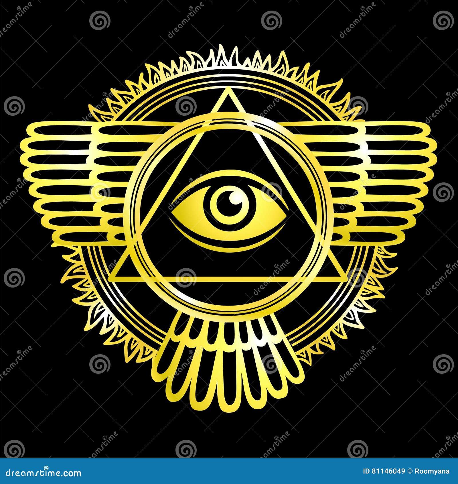 Esoterisch gevleugeld teken van een piramide