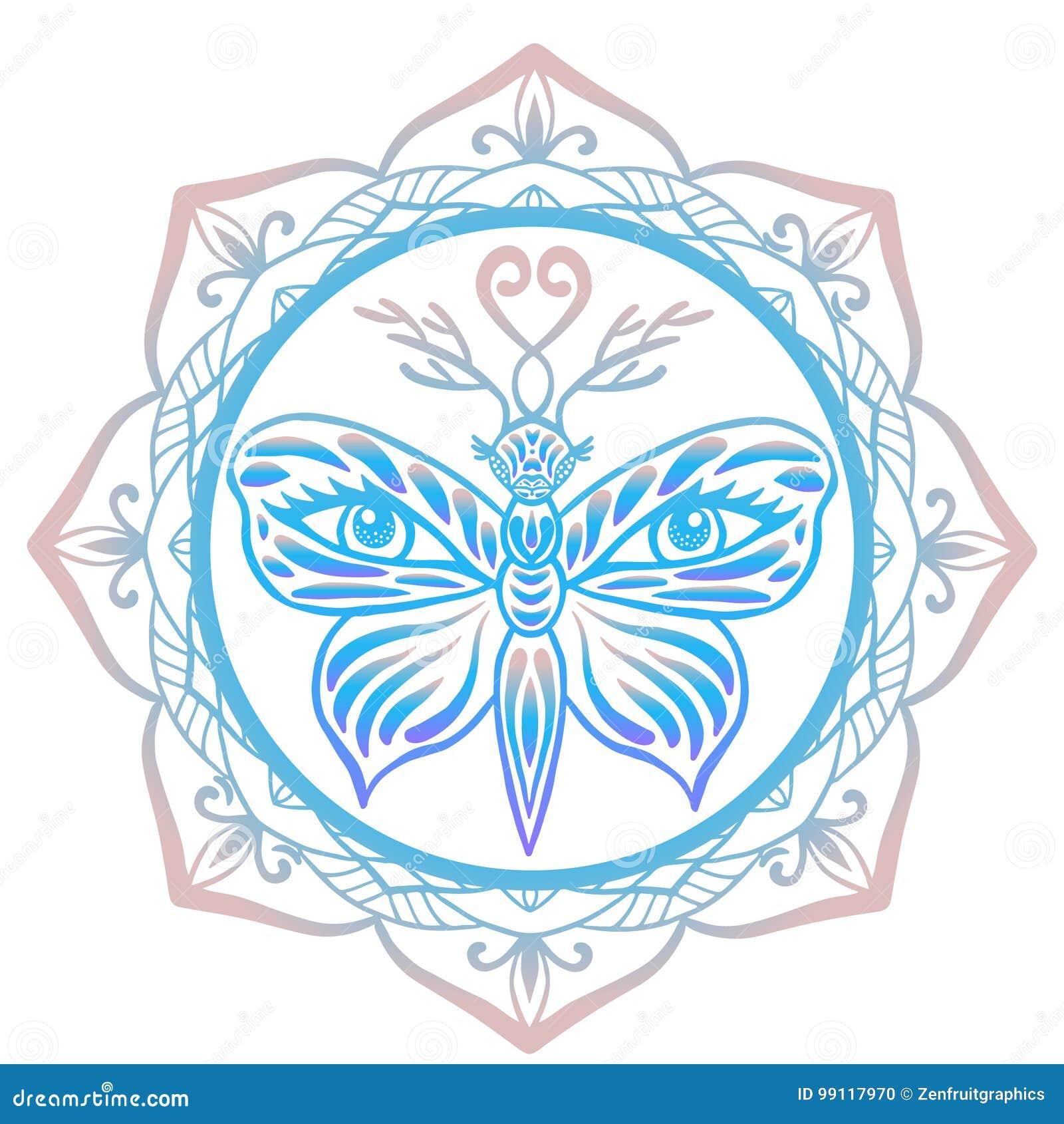 Espírito animal do totem estilizado, borboleta do tigre com chifres dos cervos e olhos humanos em suas asas quadro com fundo flor