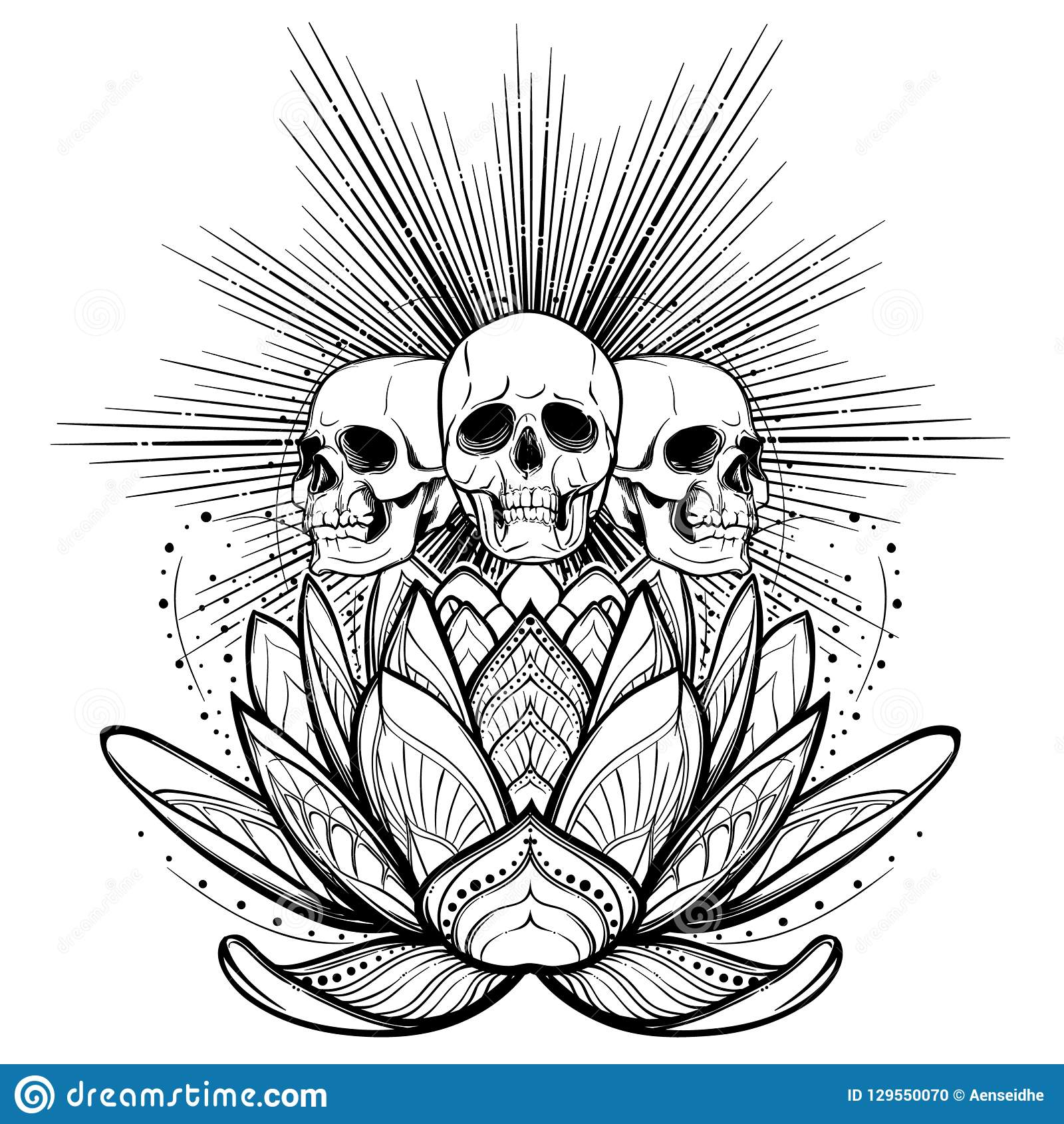 Espírito De Dia Das Bruxas Crânios Humanos Em Uma Flor De
