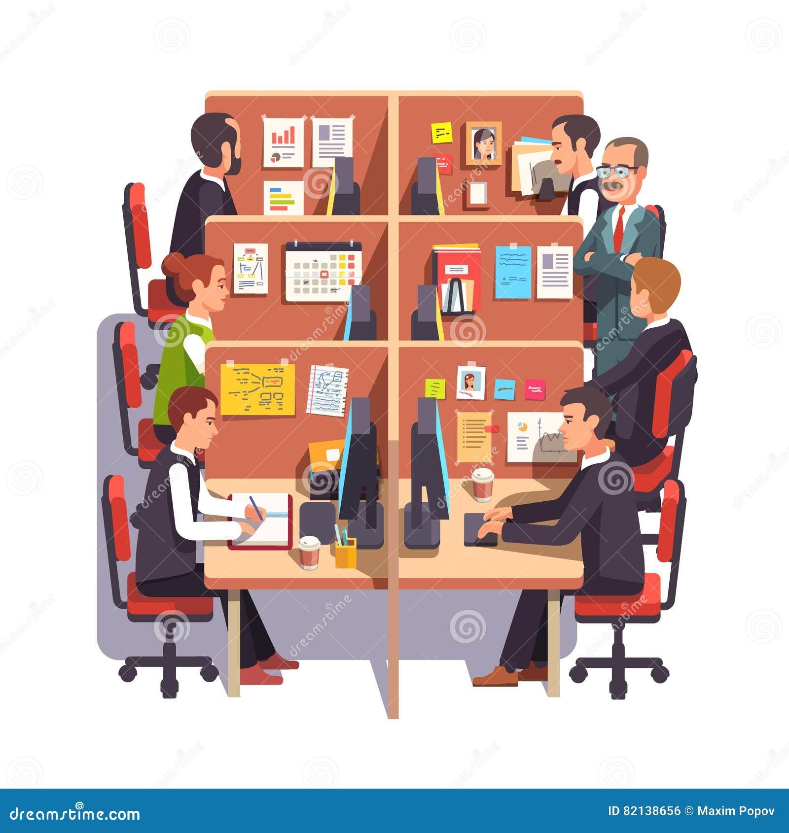 Espace de travail de bureau de compartiment avec des employés