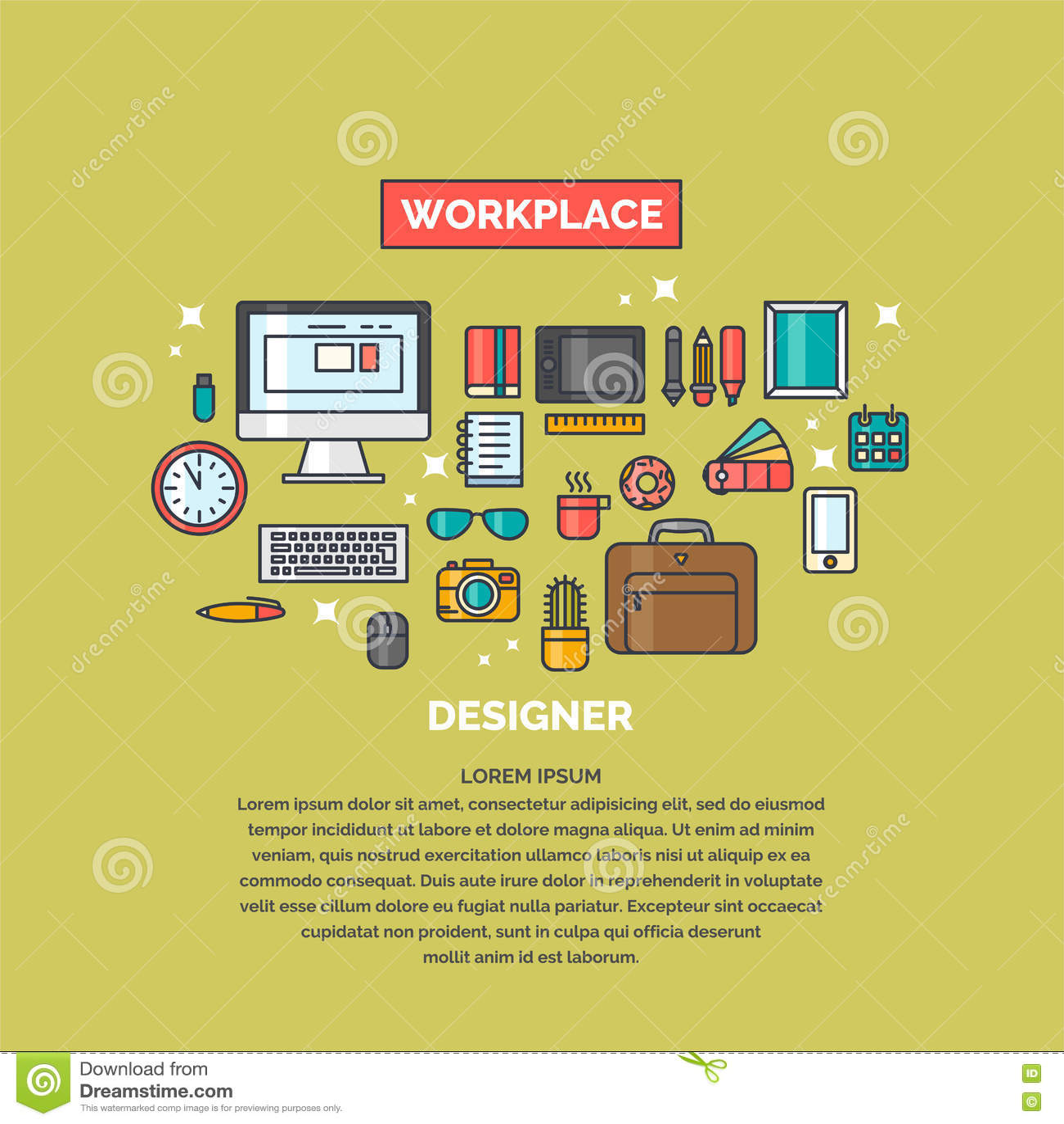 Espace de travail linéaire d illustration pour le concepteur