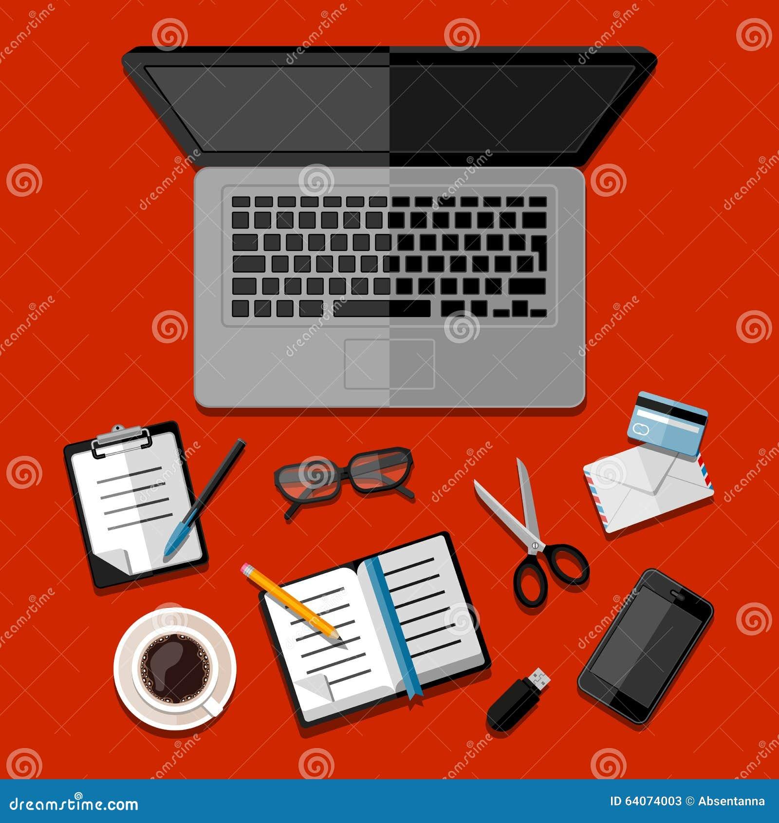 Espace De Travail Moderne De Local Commercial Illustration De Vecteur Image 64074003