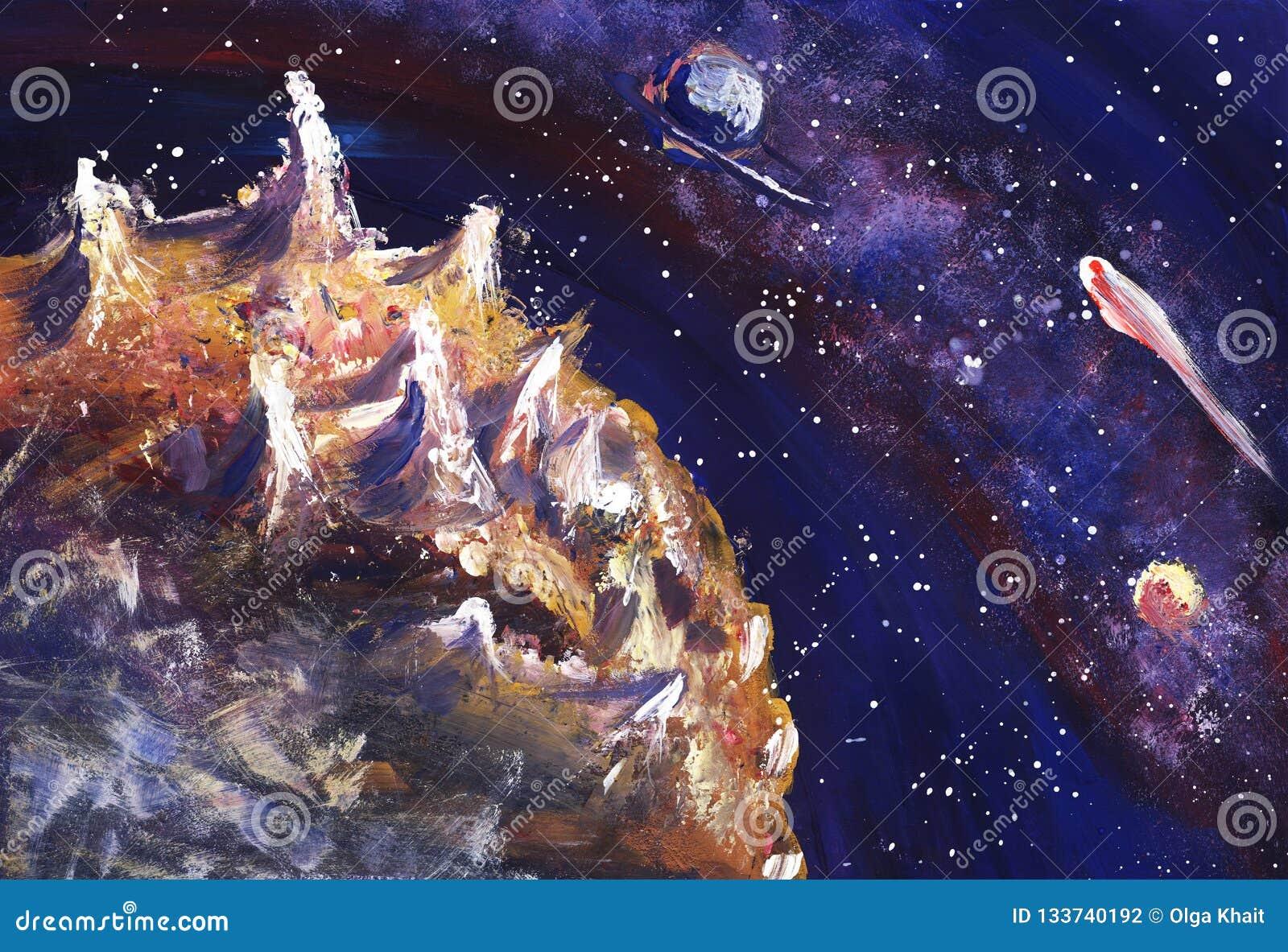 Espace extra-atmosphérique avec la manière laiteuse, les étoiles et les planètes Illustration peinte à la main