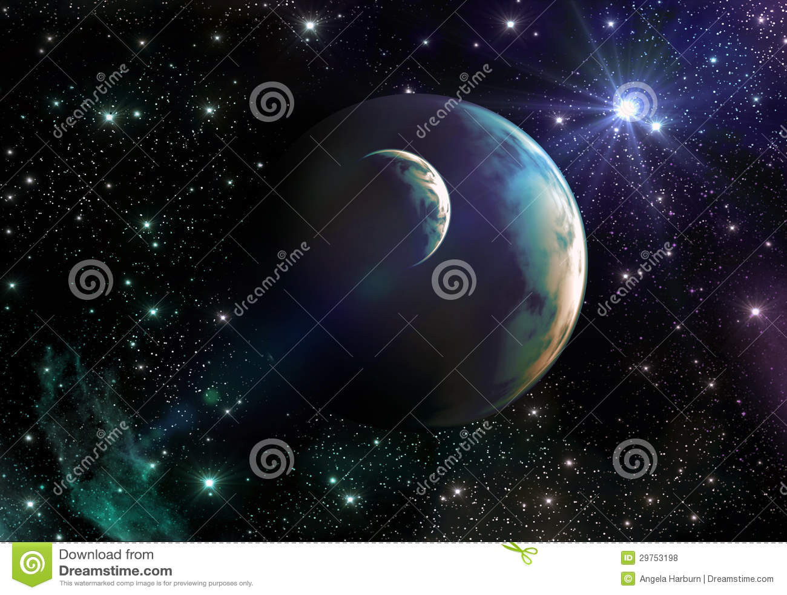 Terra-como planetas no espaço com estrelas e nebulosa