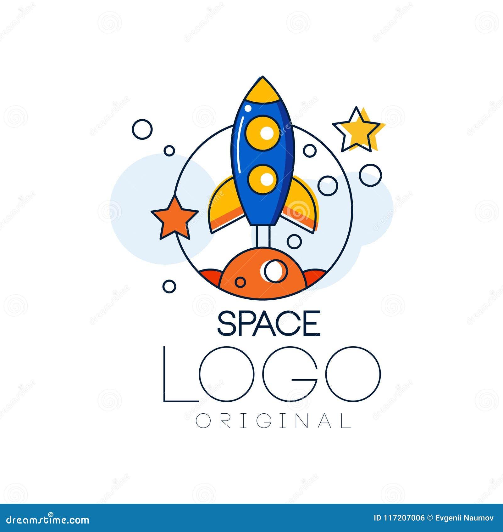 Espacez l original de logo, exploration de label de l espace avec l illustration de vecteur de fusée sur un fond blanc
