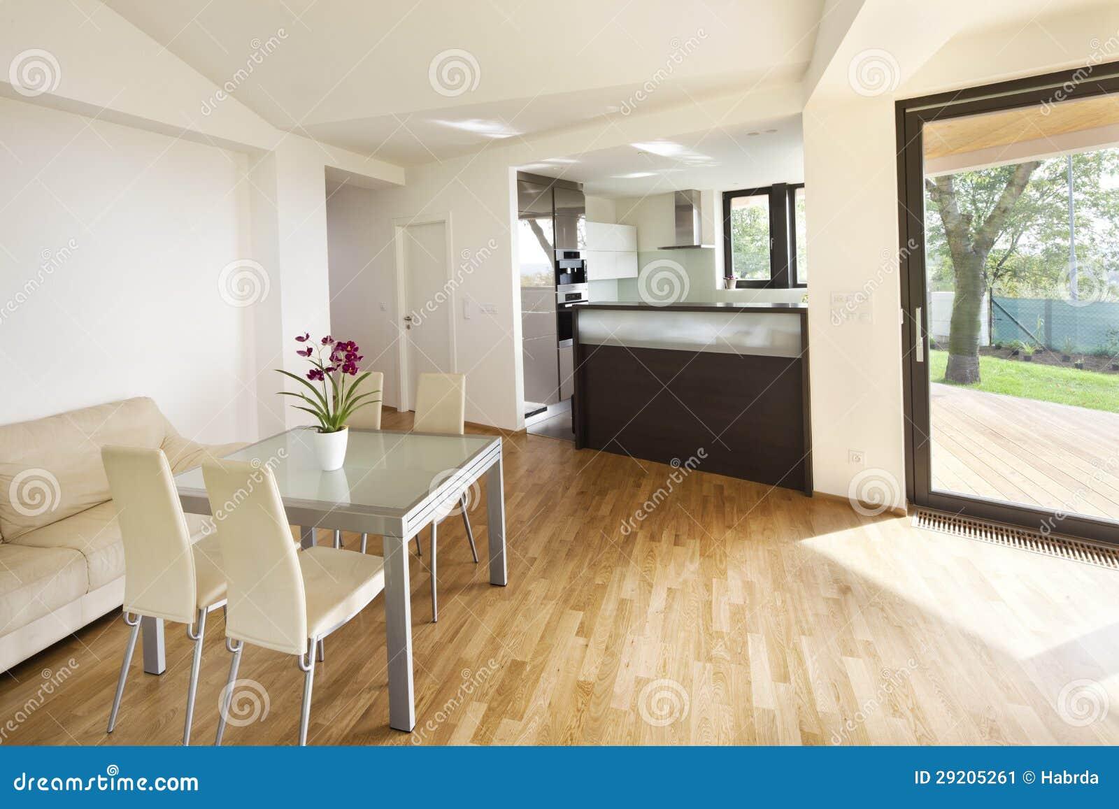 espacio abierto de la cocina en el nuevo interior de la