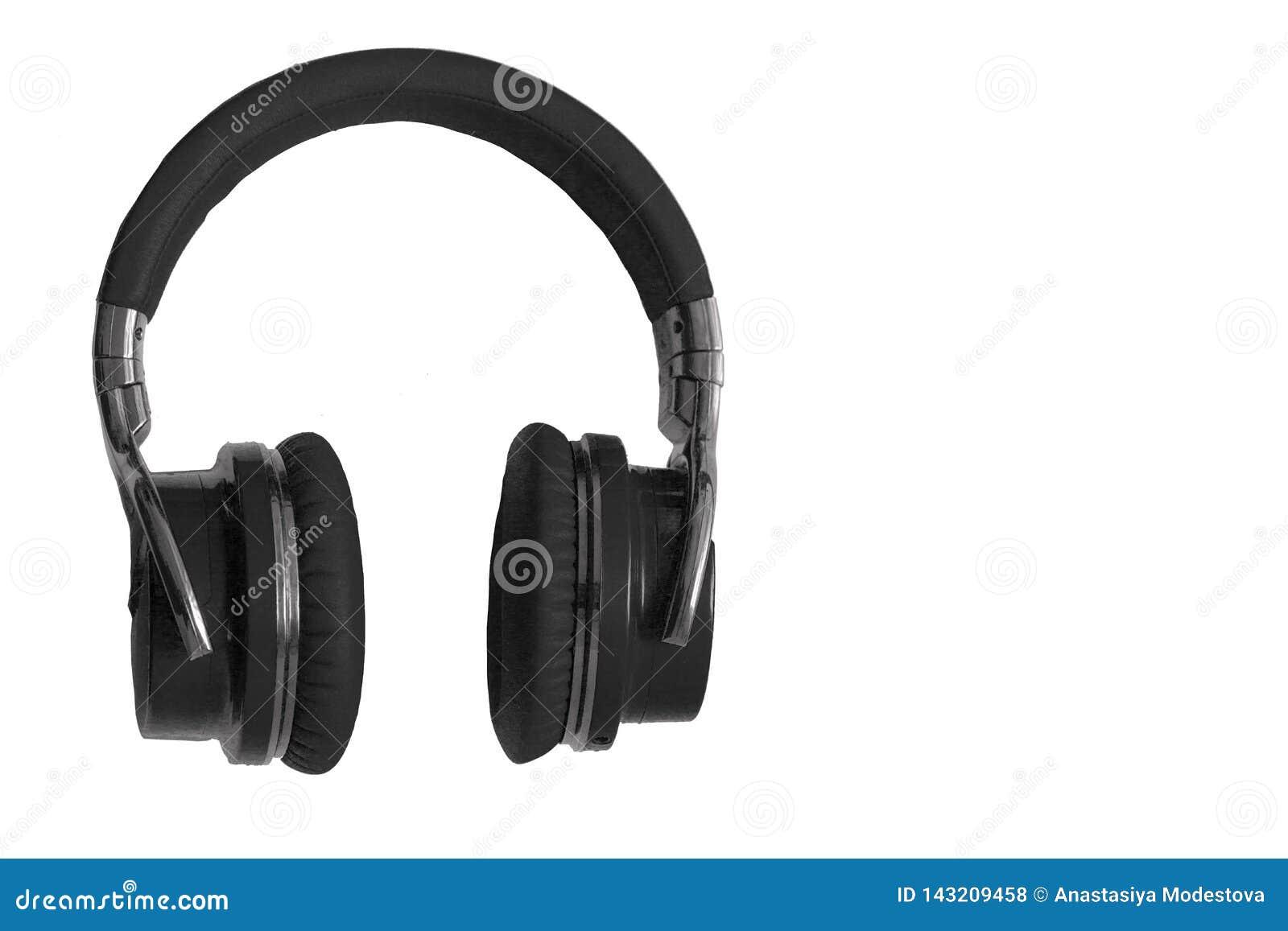 Espacio aislado auriculares inalámbricos negros de la copia del equipo de audio de la música