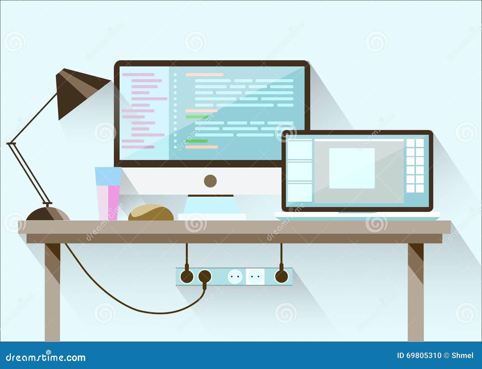 Espacio De Trabajo Creativo De La Mesa De La Oficina Diseño Plano ...