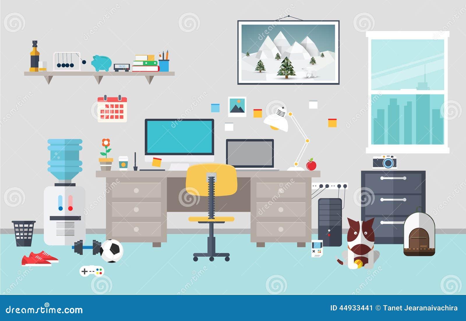 Espacio de trabajo del dise ador en el cuarto de trabajo - Disenador de espacios ...