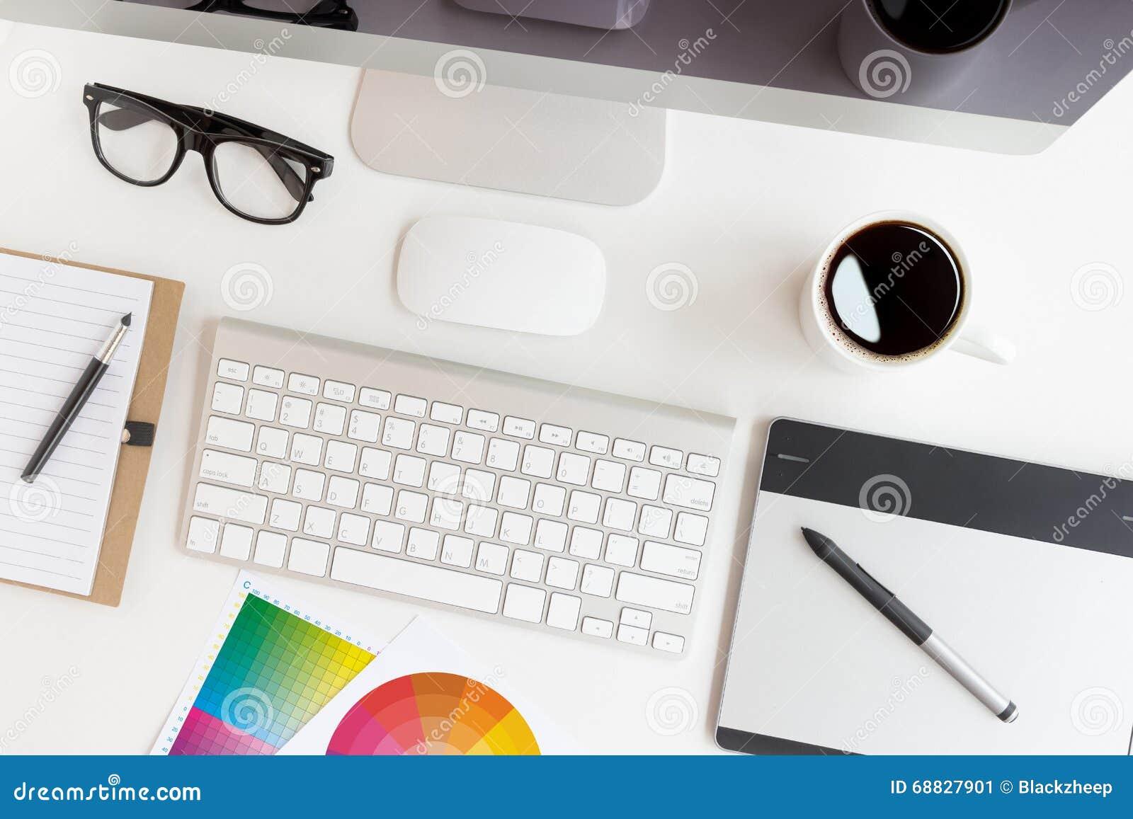 Espacio de trabajo del diseñador en la visión superior