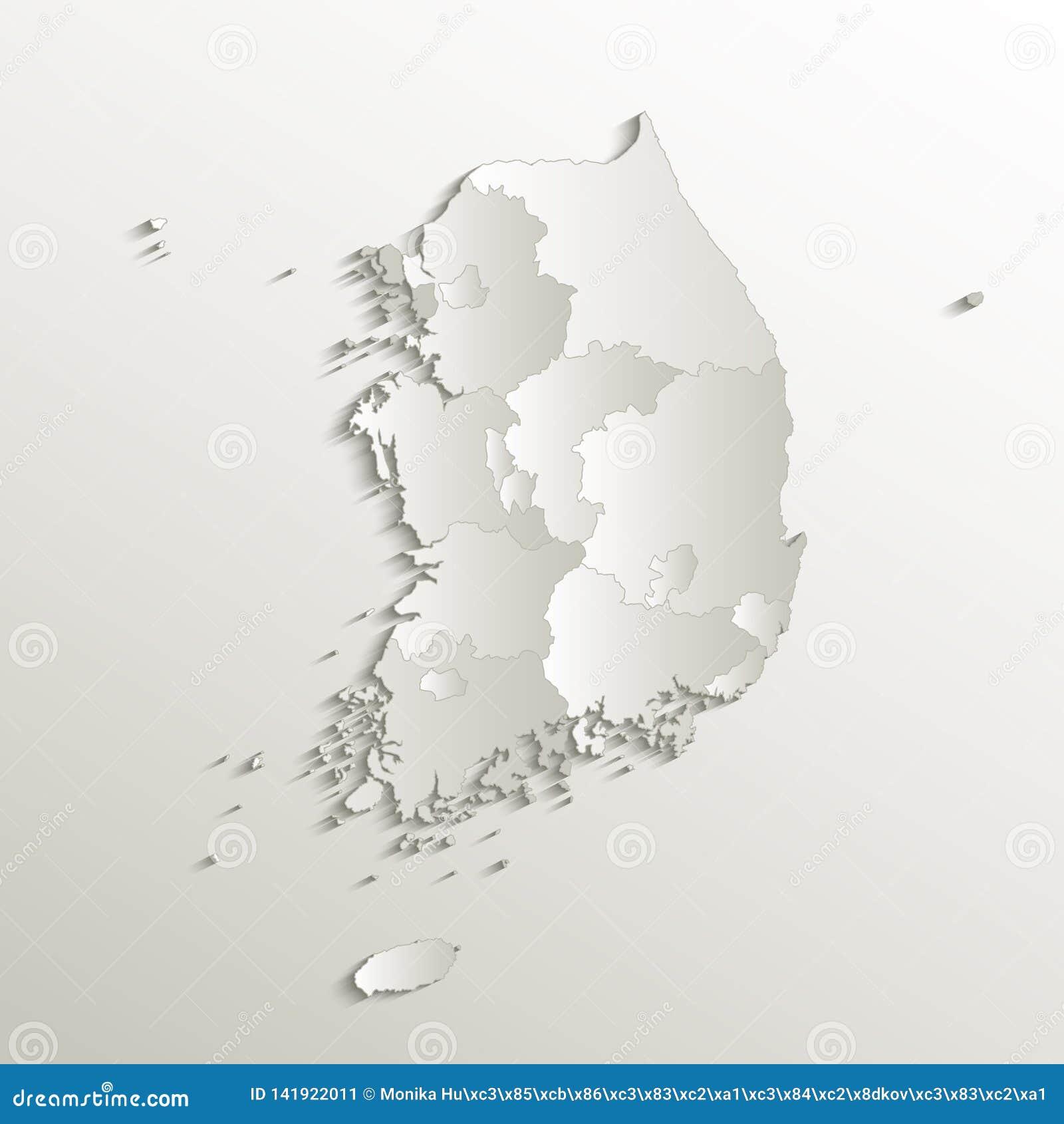 Espacio en blanco natural de papel 3D de la tarjeta individual separada de la región del mapa de la Corea del Sur