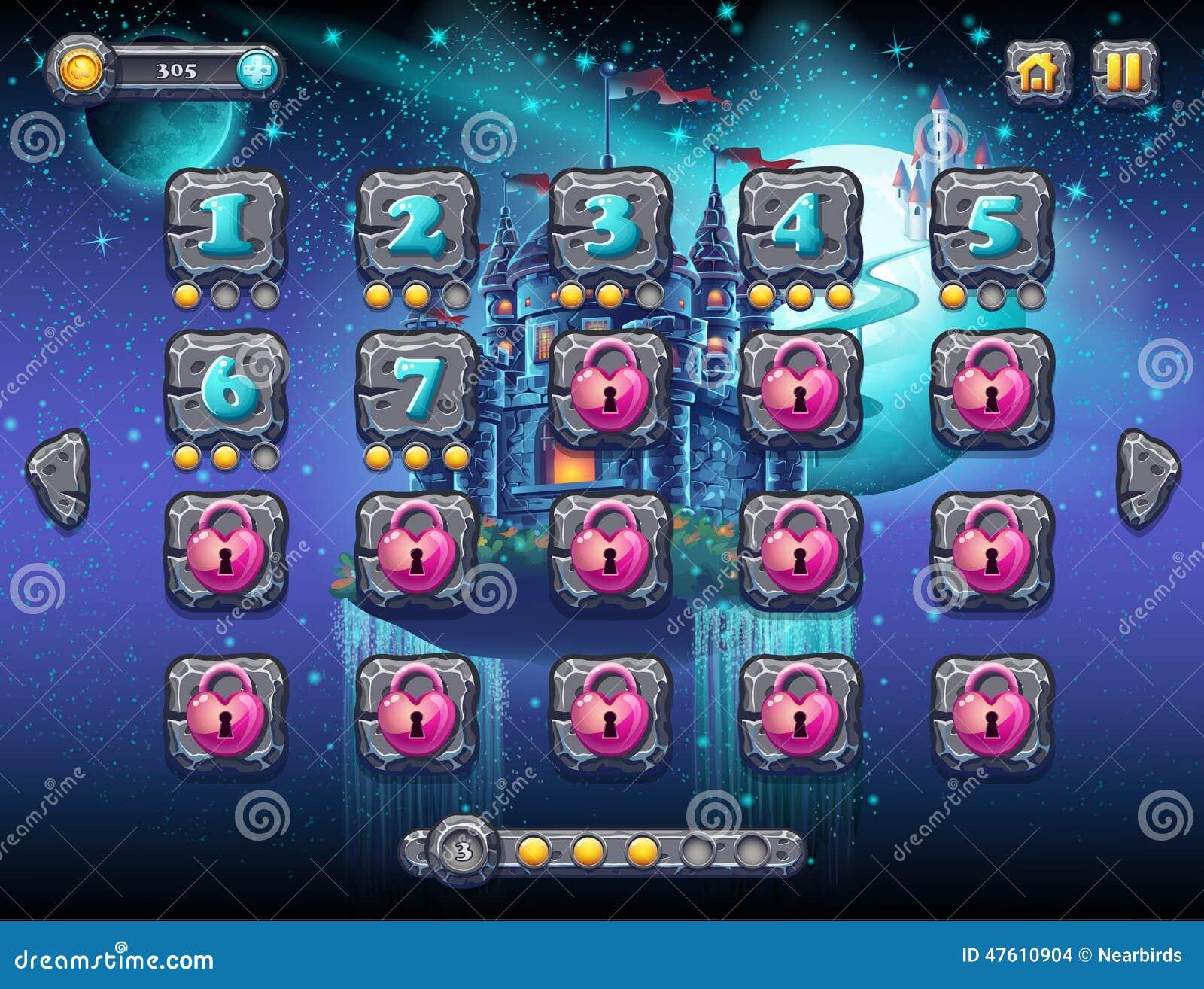 Espacio fabuloso con los planetas alegres con los niveles de la pantalla del ejemplo, el interfaz del ejemplo del juego con una b