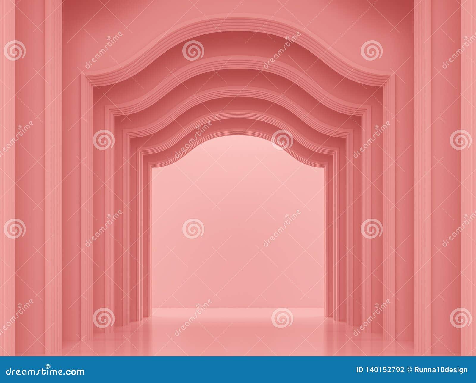 Espacio interior clásico 3d del rosa coralino rendir
