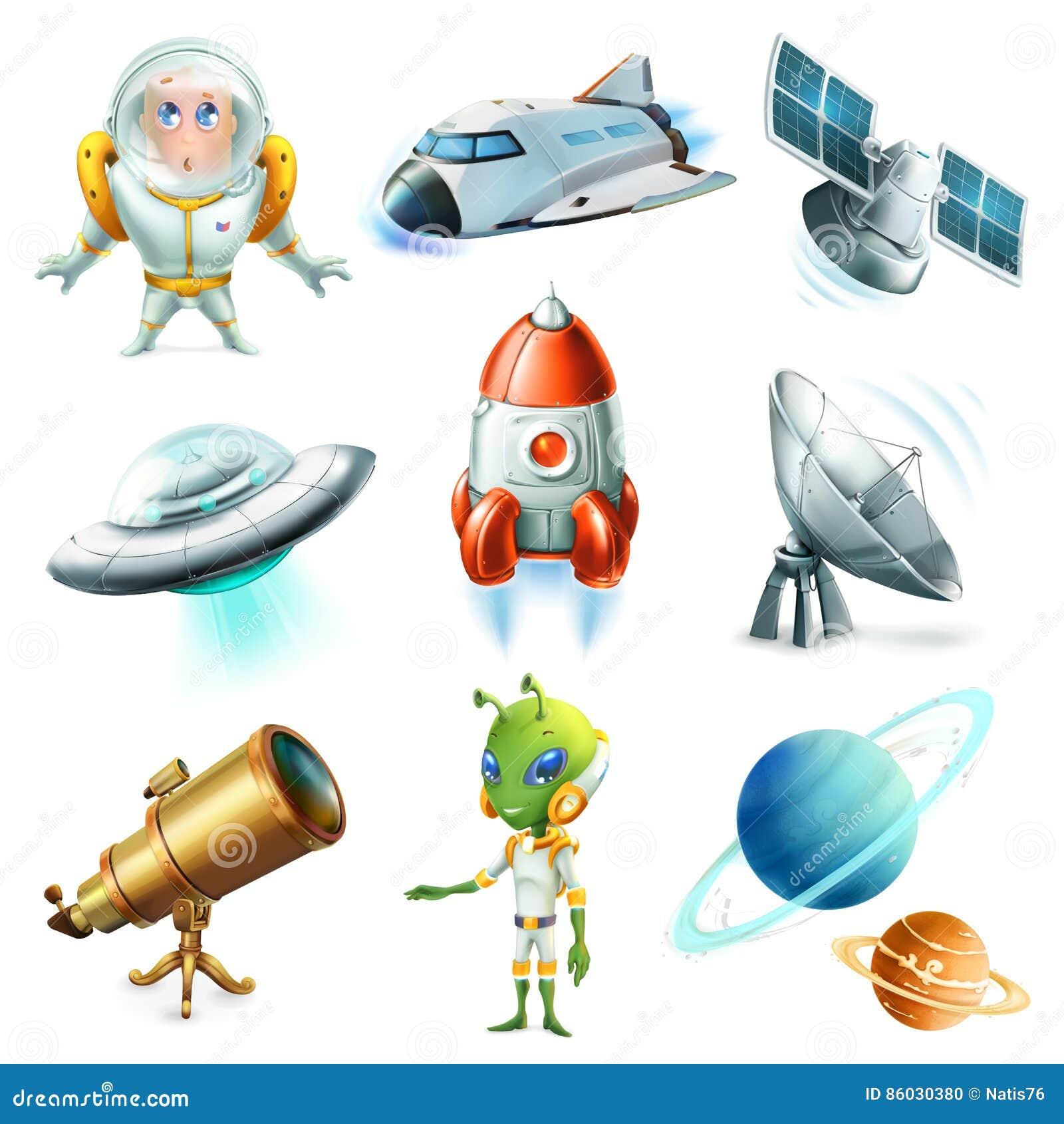 Espacio, nave espacial, planeta, astronauta, UFO y satélite Sistema del icono del vector