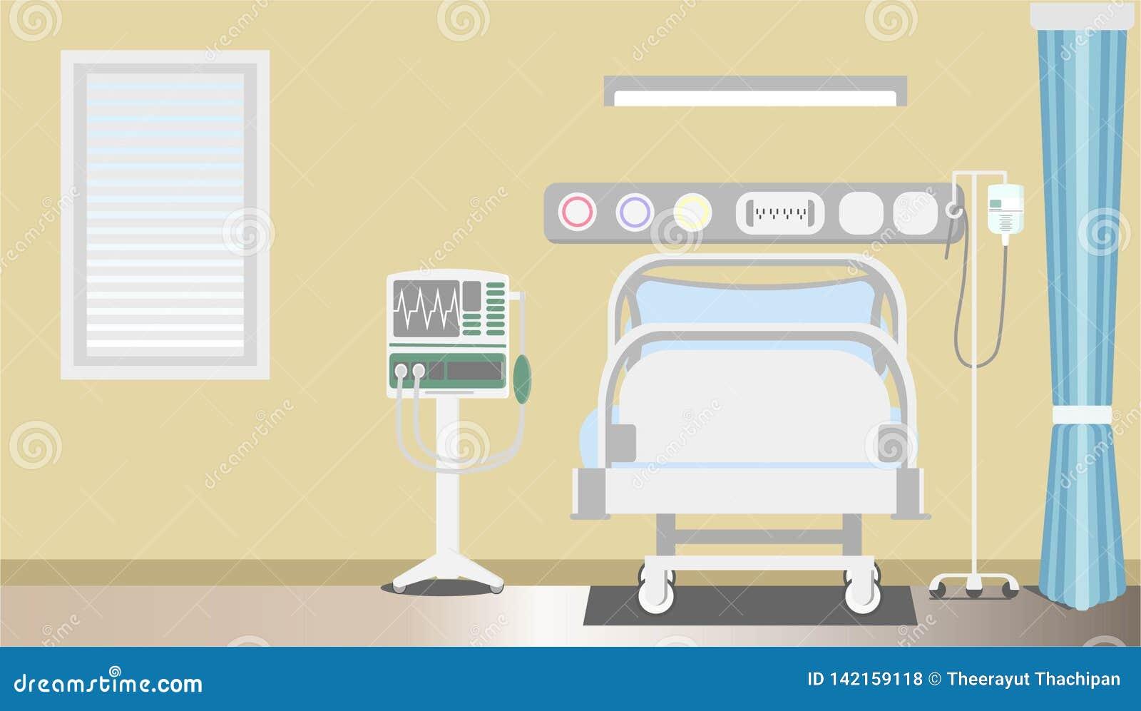 Espacio paciente de la terapia intensiva interior con el ilustrador plano del vector de la copia