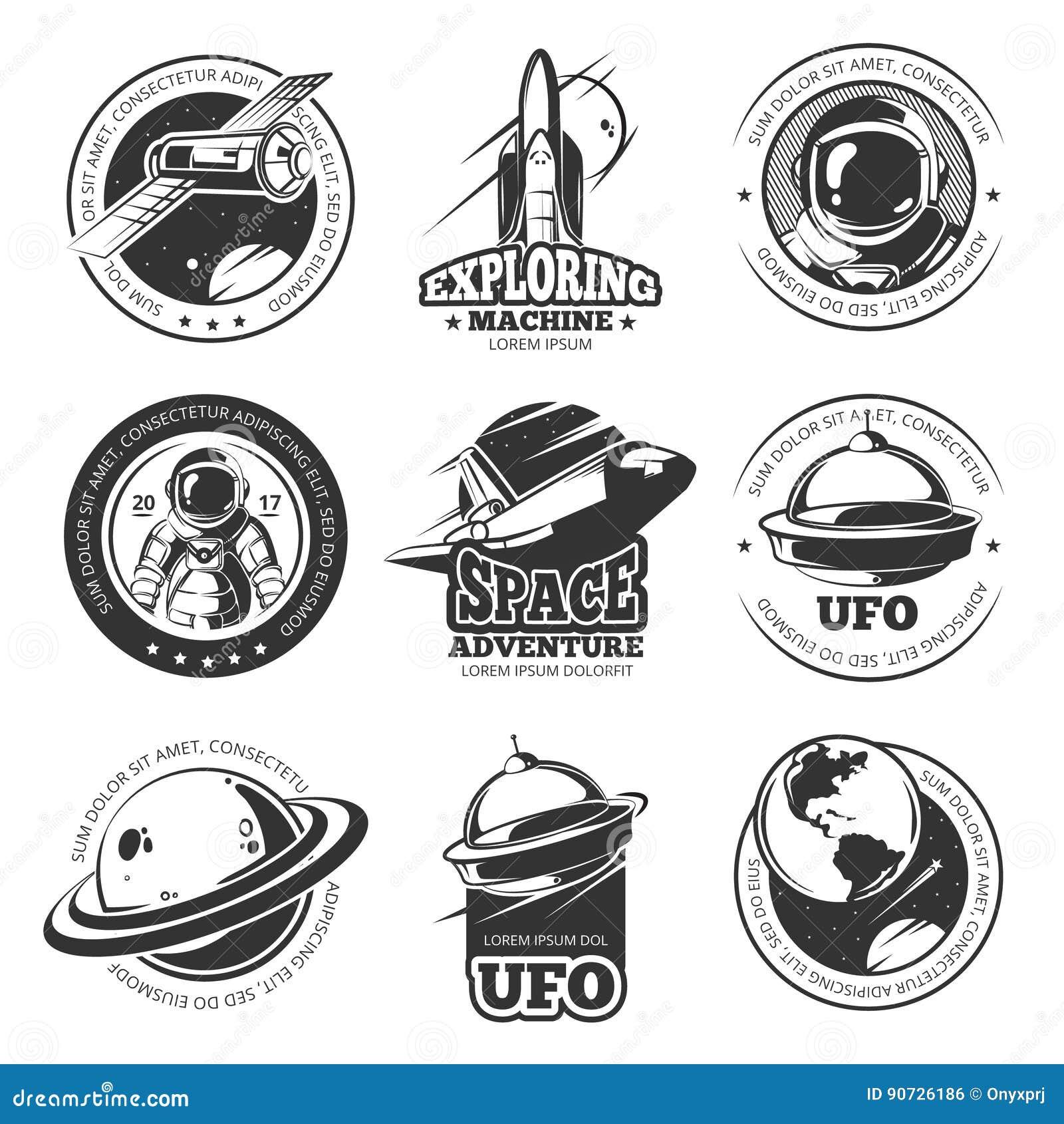 Espacio retro, astronauta, astronomía, etiquetas del vector de lanzadera de la nave espacial, logotipos, insignias, emblemas