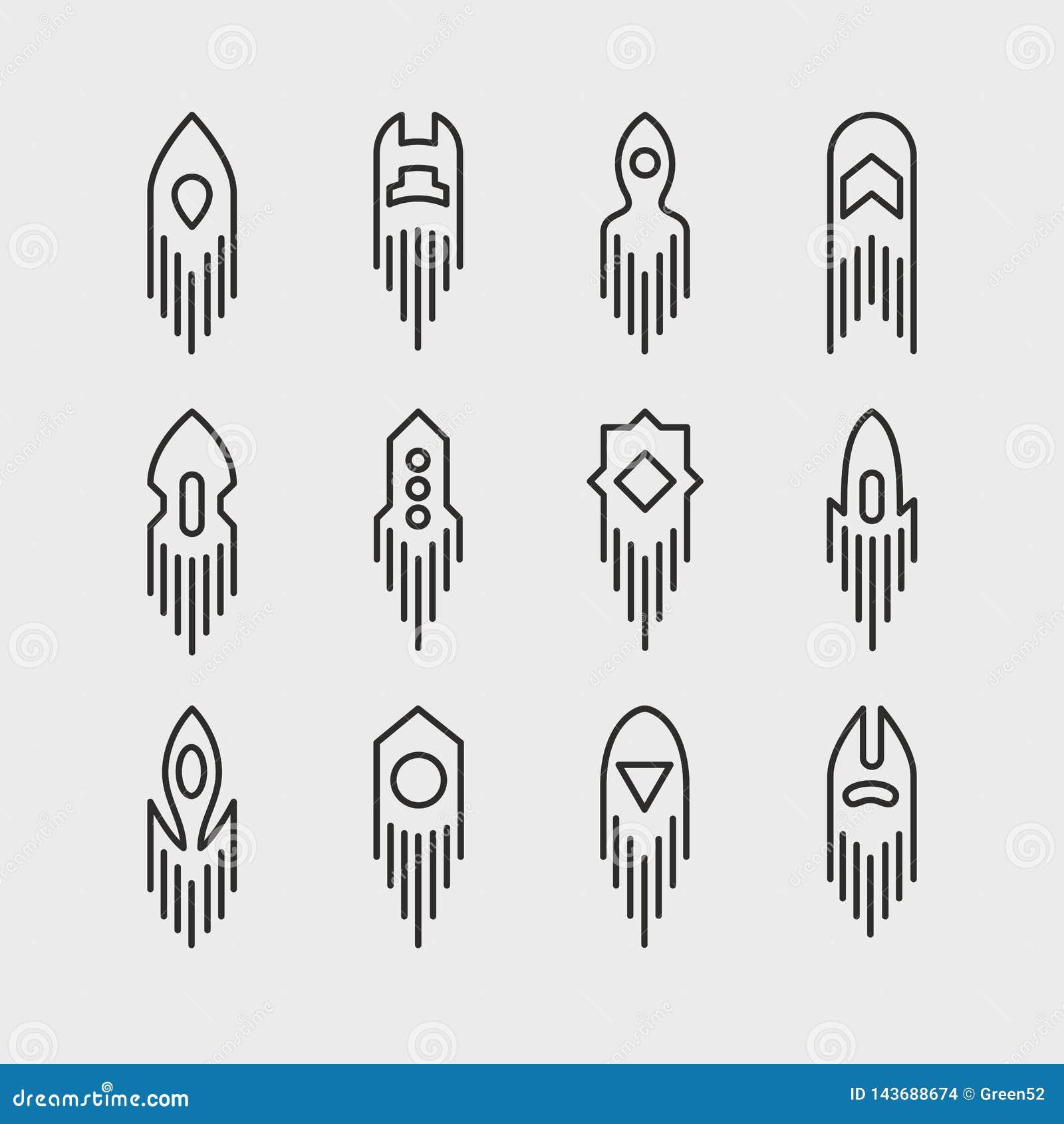 Espacio Rocket Icon Set