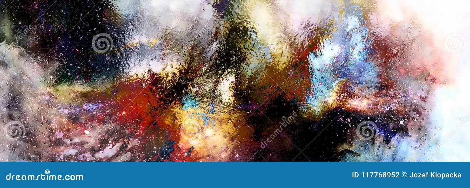 Espacio y estrellas cósmicas, fondo abstracto cósmico y efecto del vidrio