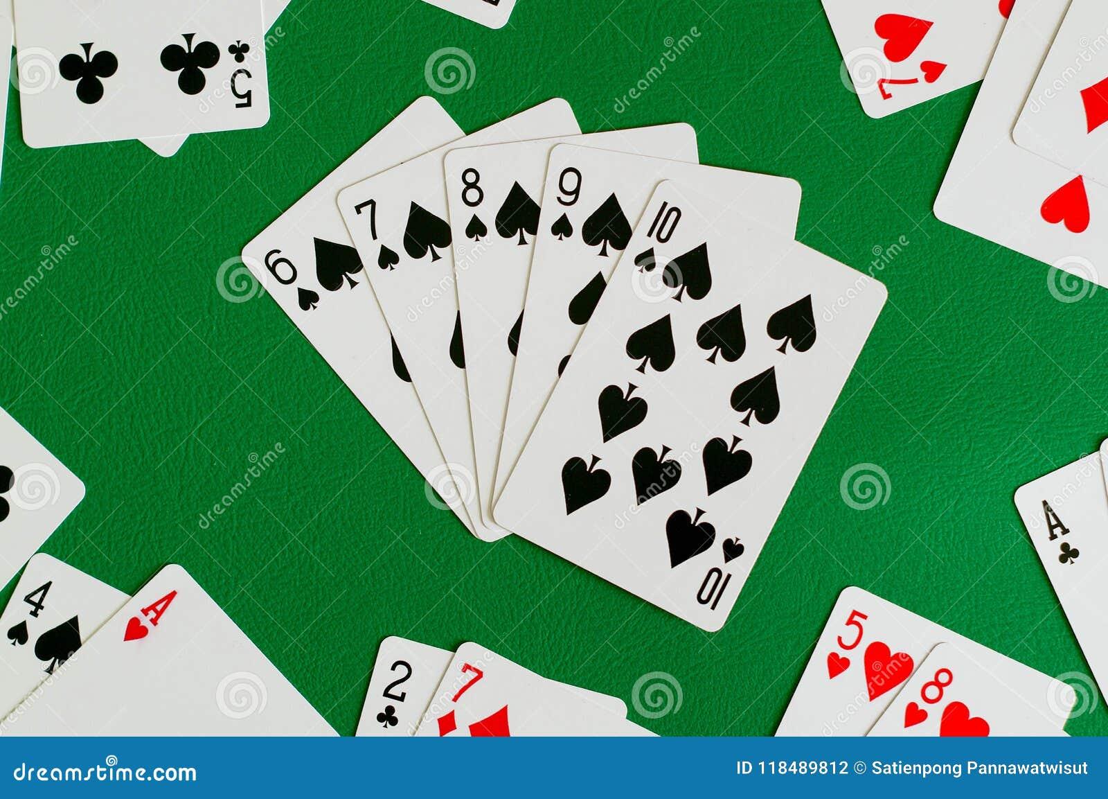 Espada seis del rubor recto siete ocho nueve diez, tarjeta del póker