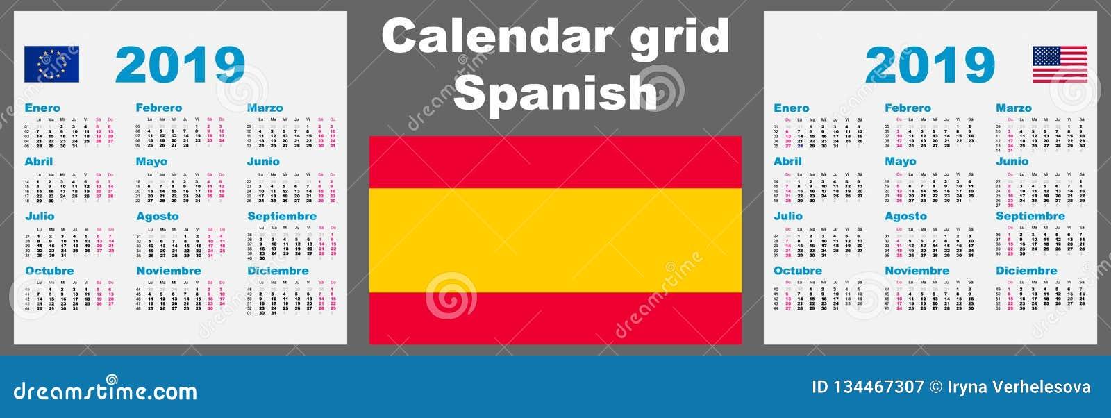 Espagnol De Calendrier 2019 Calibre Regle Hispanique D