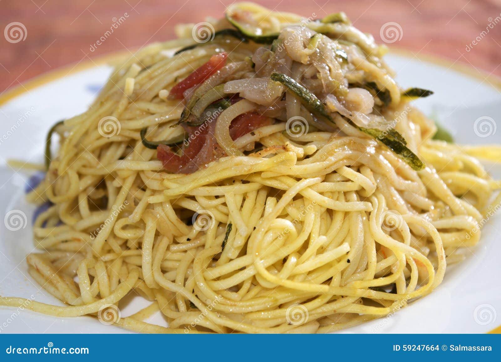 Espaguetis con las verduras