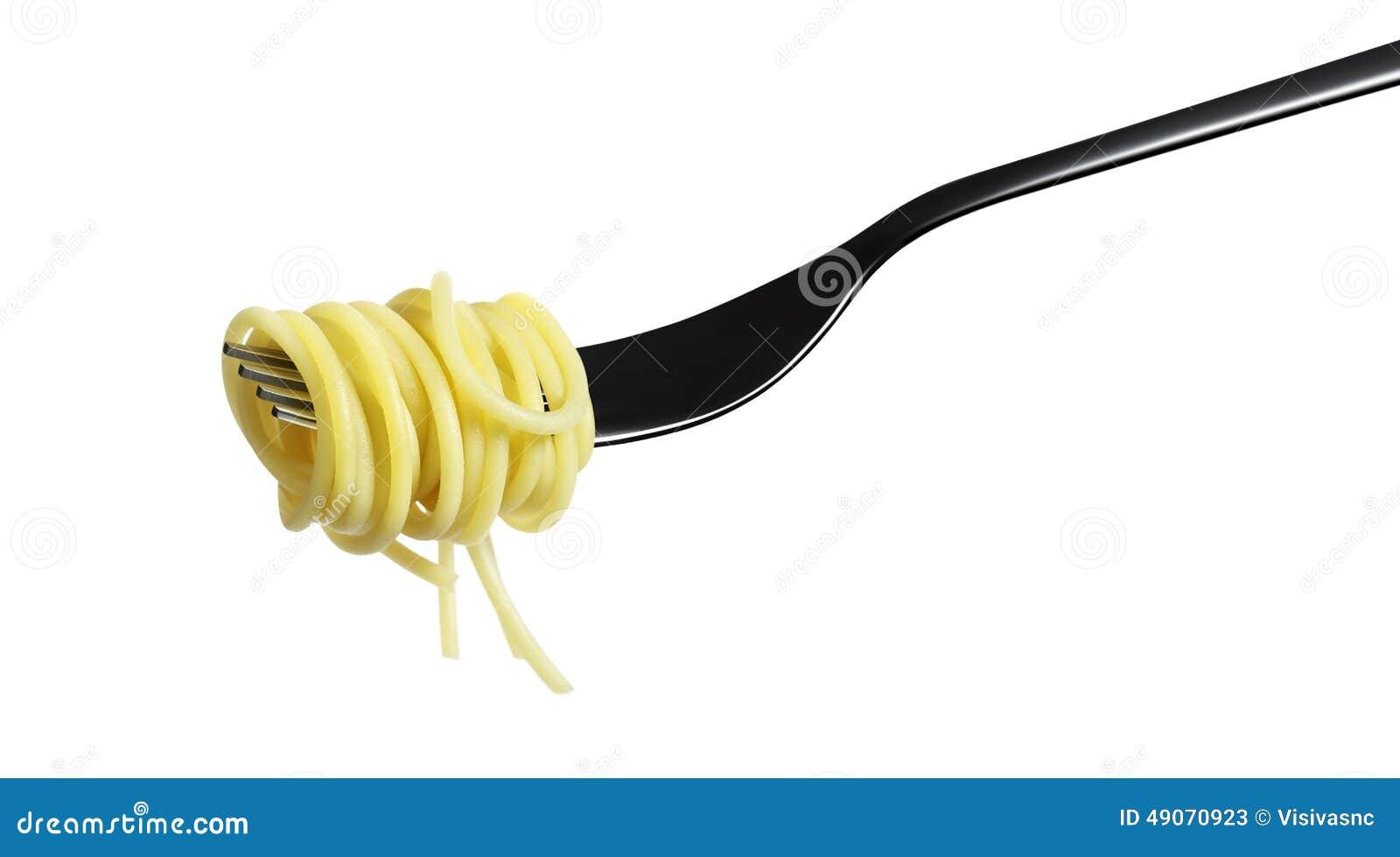Espaguetis de las pastas de la bifurcación aislados en blanco
