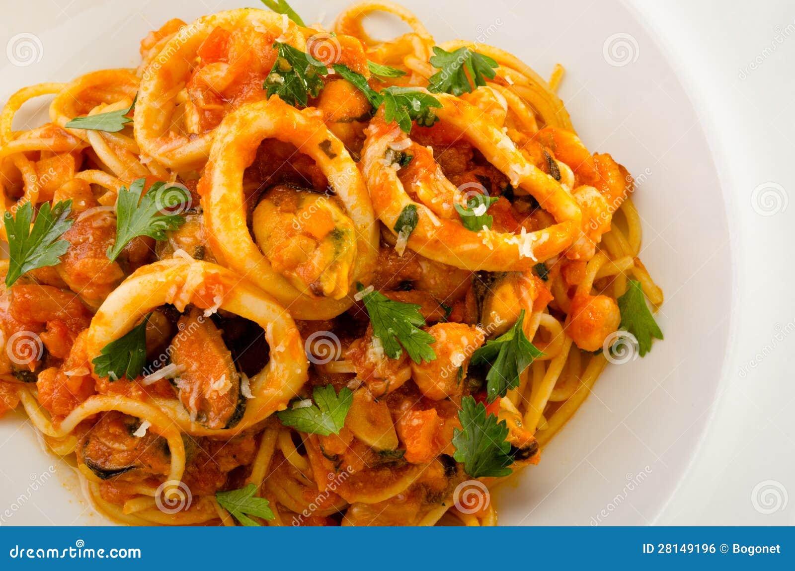 Espaguetis de los mariscos