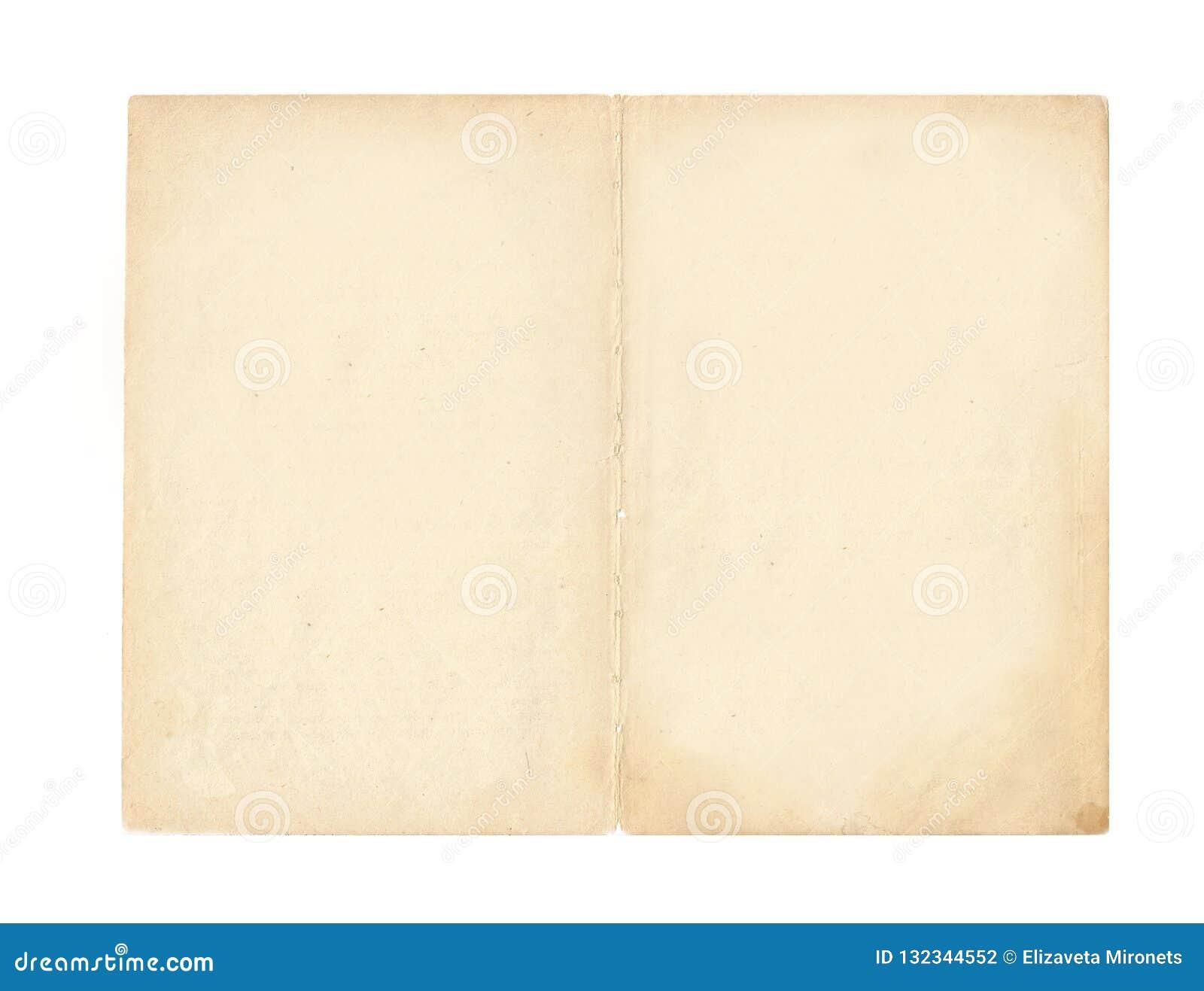 Espalhe do livro - uma página amarelada velha com bordas ásperas