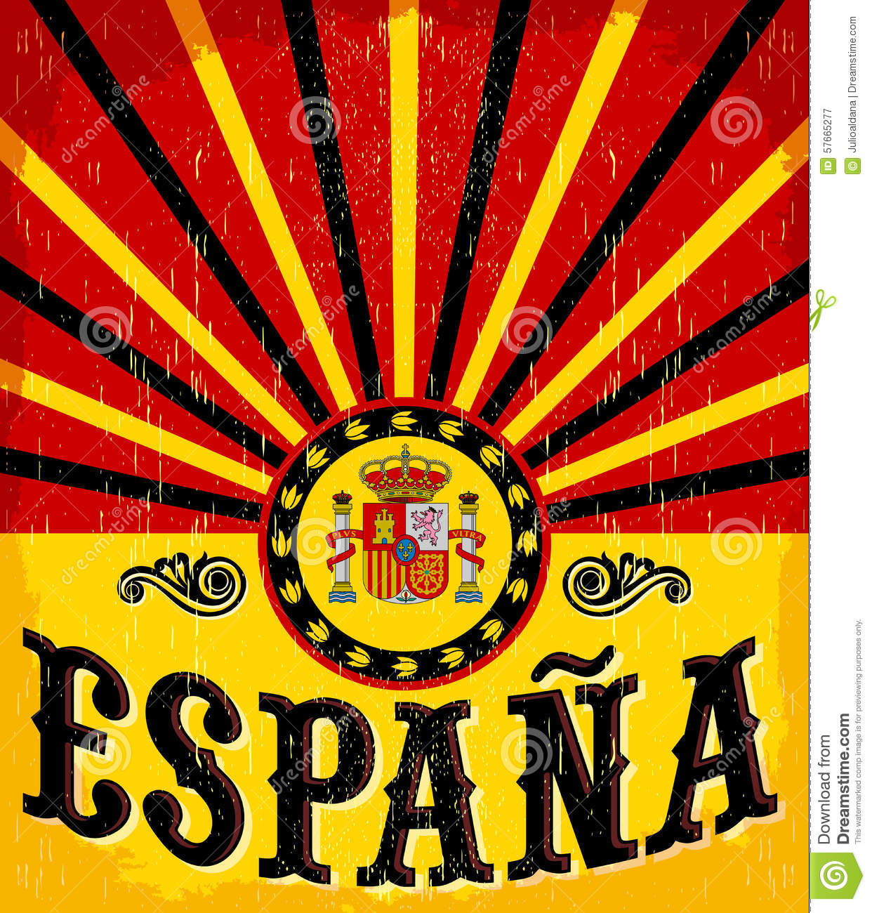 Stock Illustration Espana Spain Spanish Text Vintage Card Poster Vector Illustration Flag Colors Grunge Effects Can Be Easily Removed Image57665277 on vintage settings