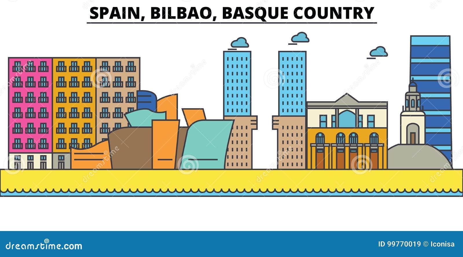 Espanha, Bilbao, país Basque Arquitetura da skyline da cidade