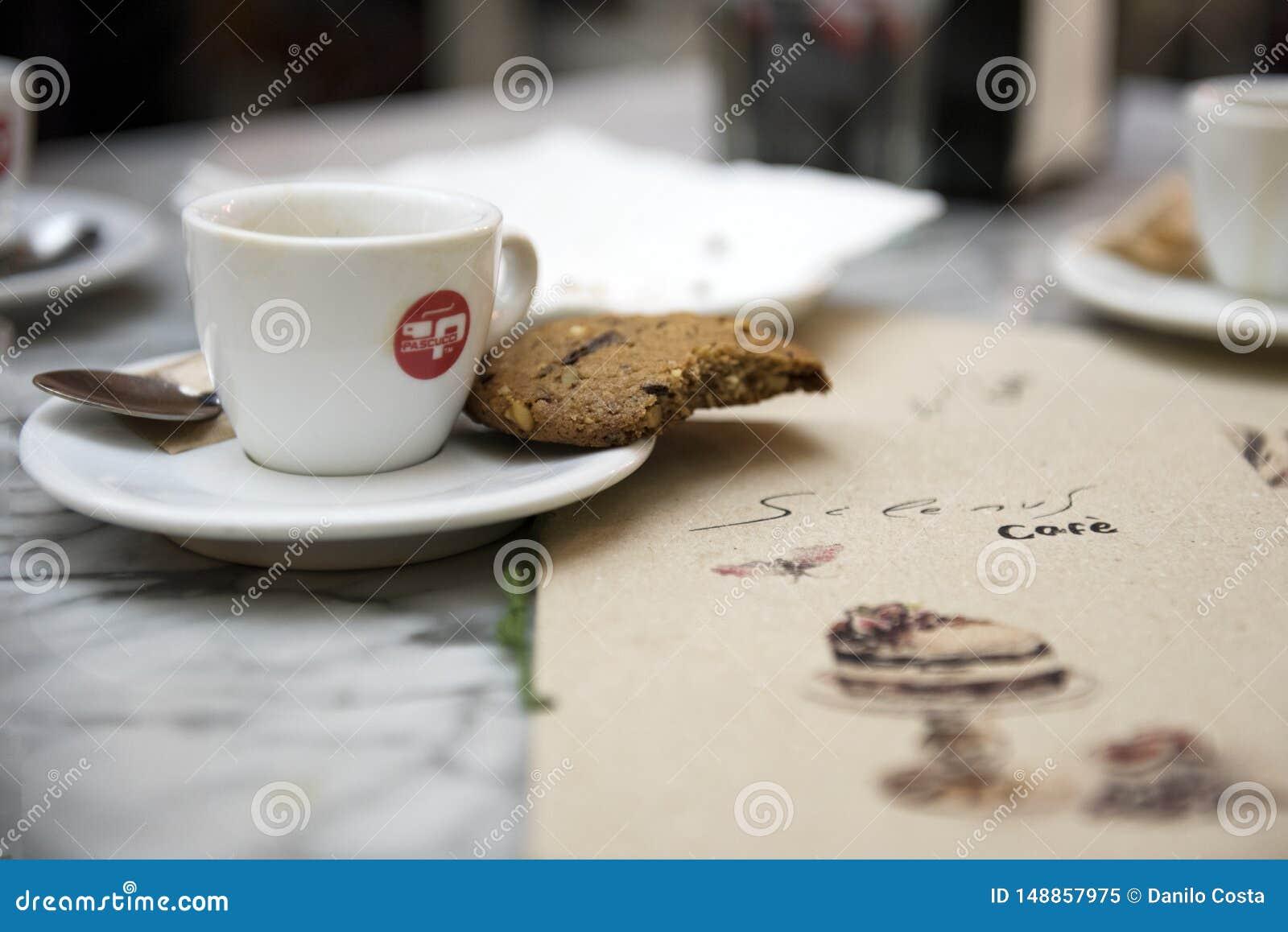 Espanha de Barcelona, lugar do café, cookies