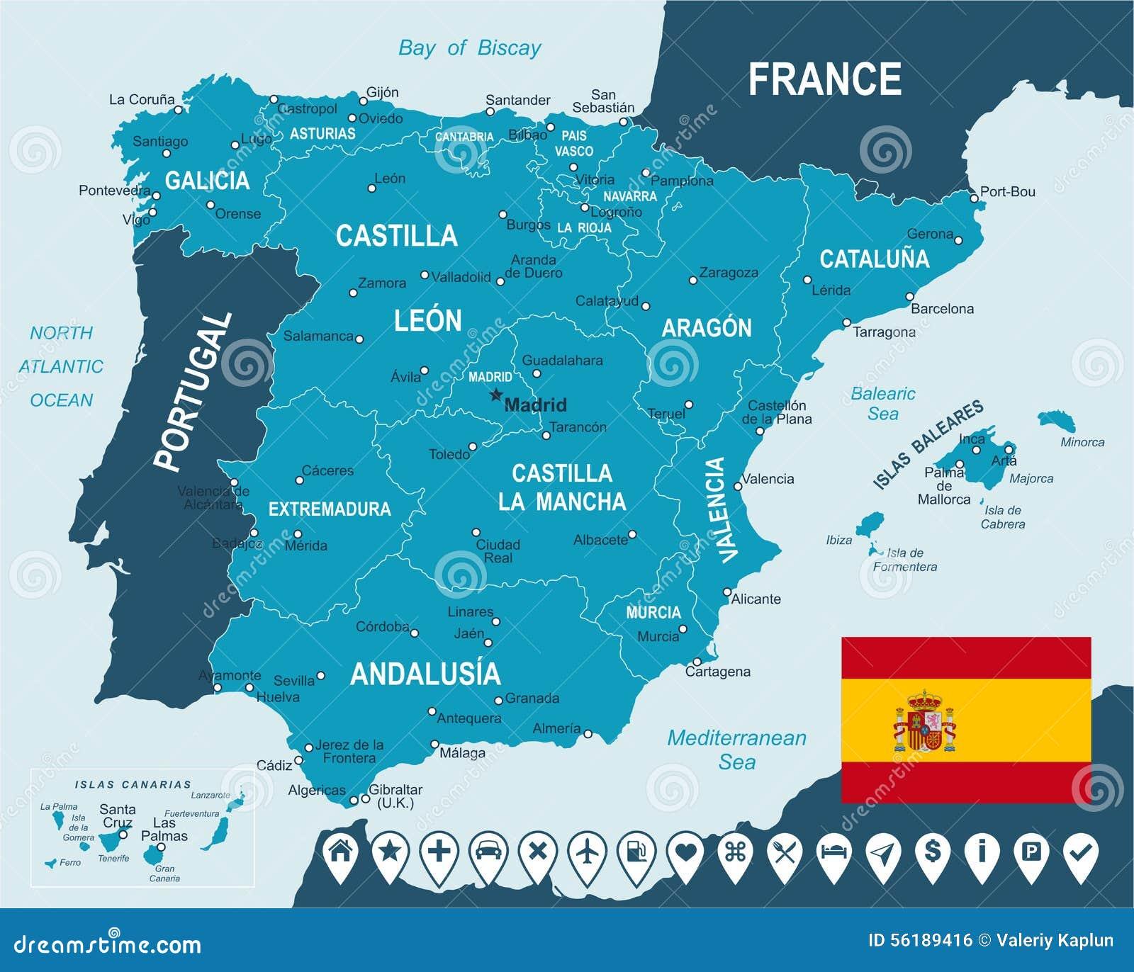 mapa de espanha detalhado Espanha   Mapa, Bandeira E Etiquetas Da Navegação   Ilustração  mapa de espanha detalhado