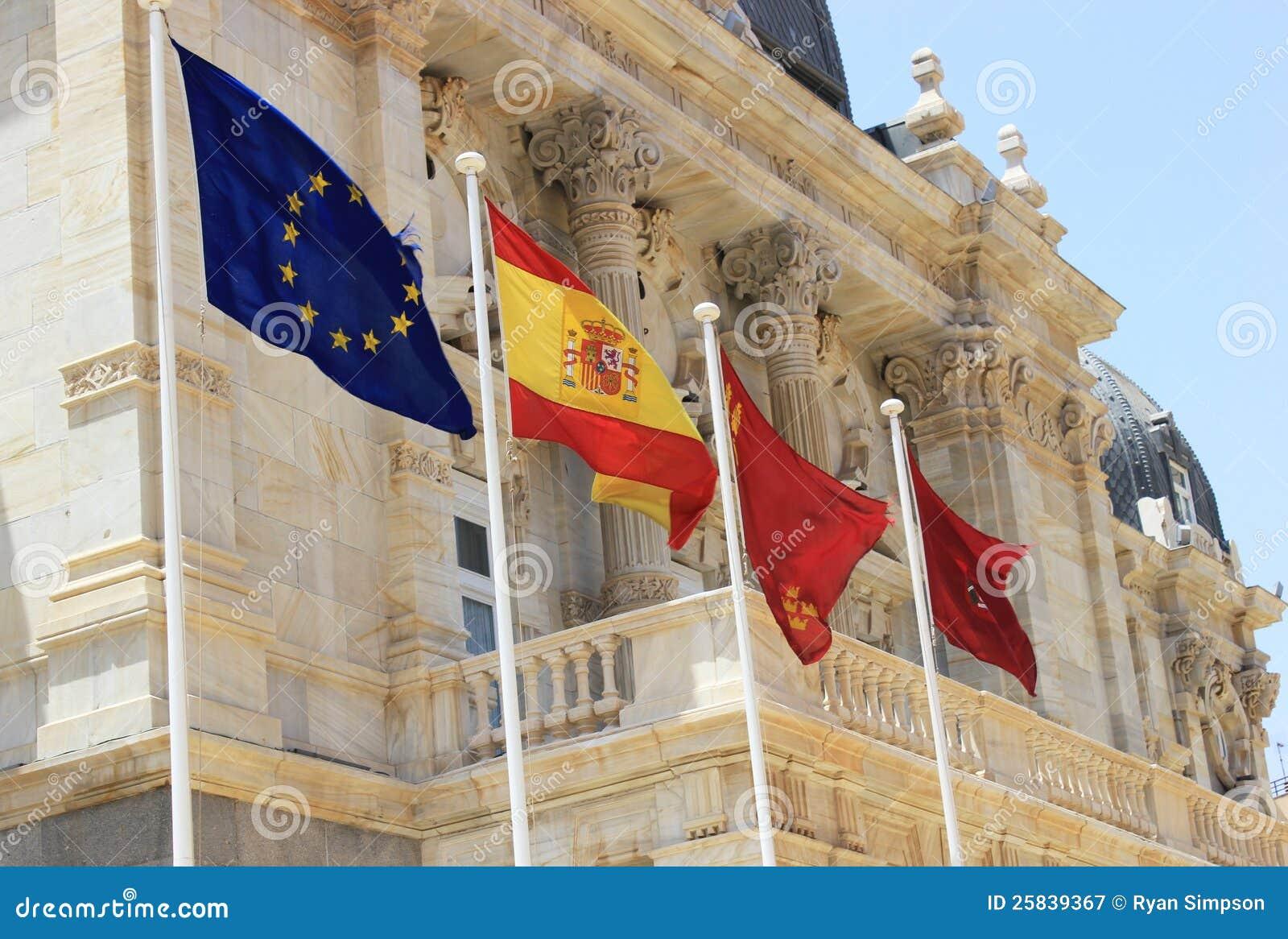 Espanhol e bandeiras da UE