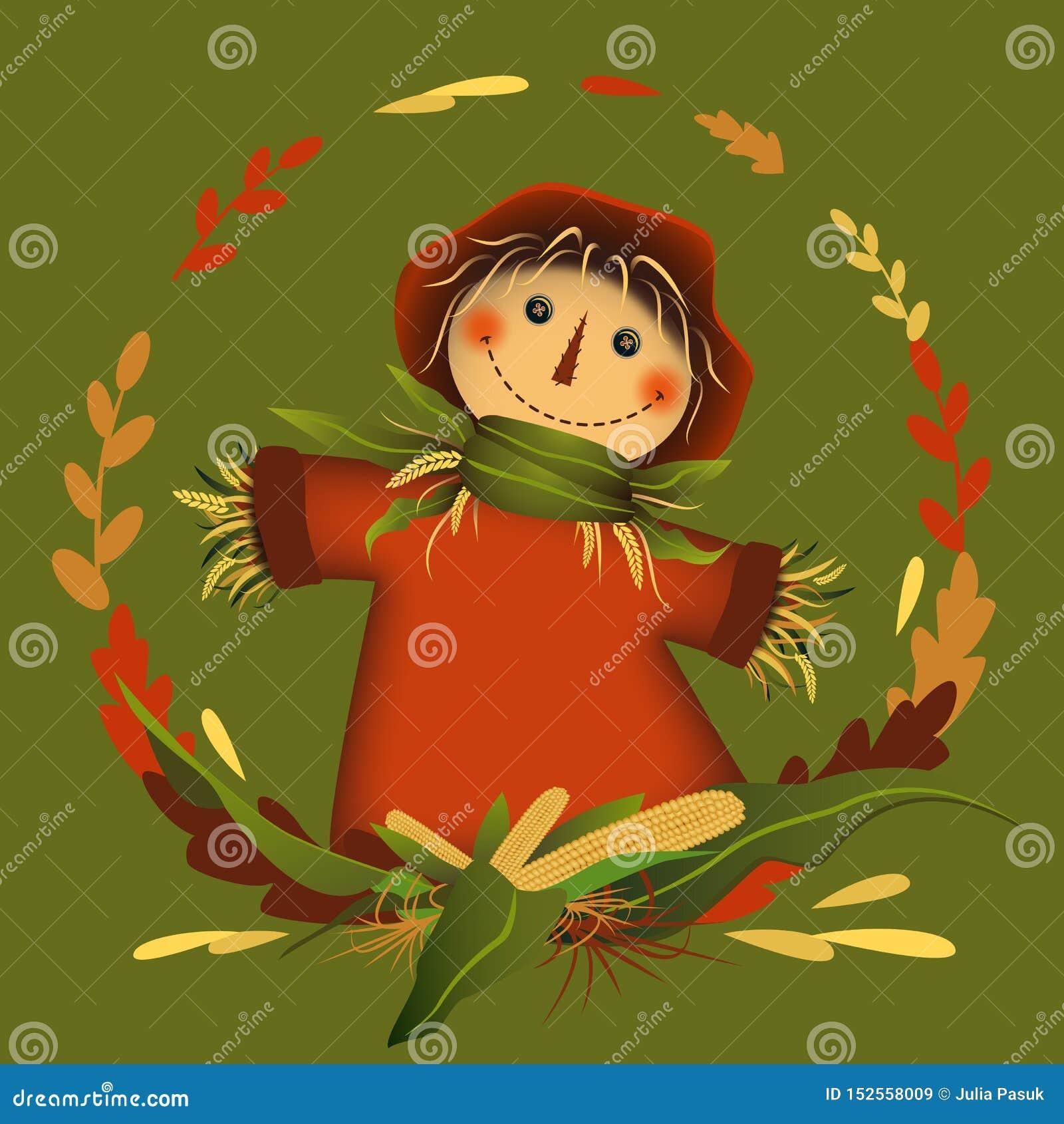 Espantalho no quadro da folha do círculo com milho no meio Autumn Colors Ilustra??o do vetor