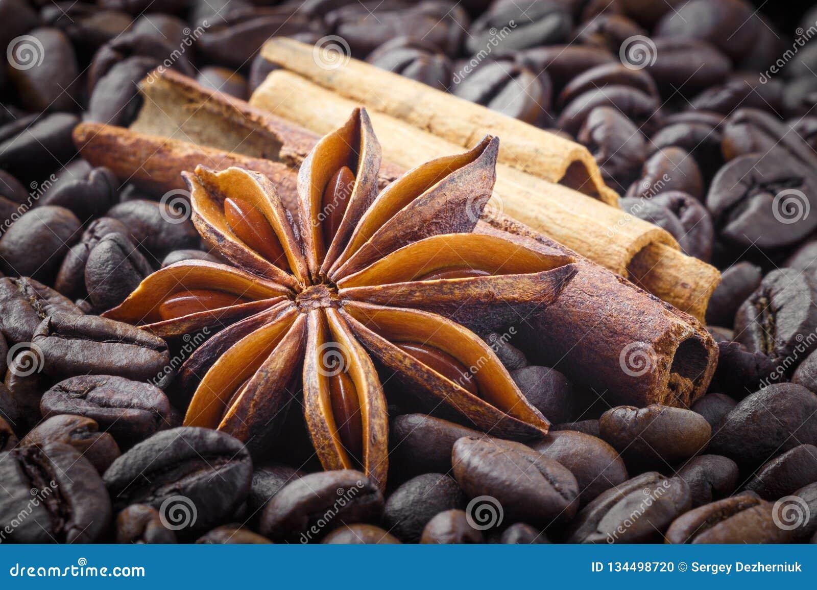 Especiarias; anis de estrela, canela no fundo de feijões de café