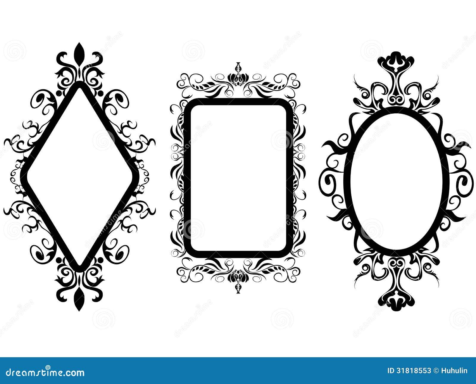Espejo del marco del vintage ilustraci n del vector for Espejos grandes de pared vintage