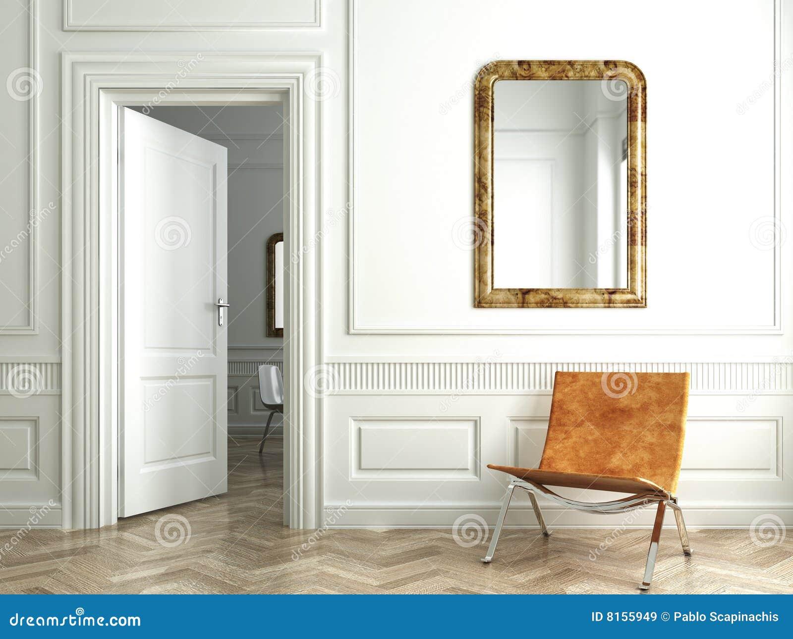 Espejos interiores blancos clásicos de la pizca