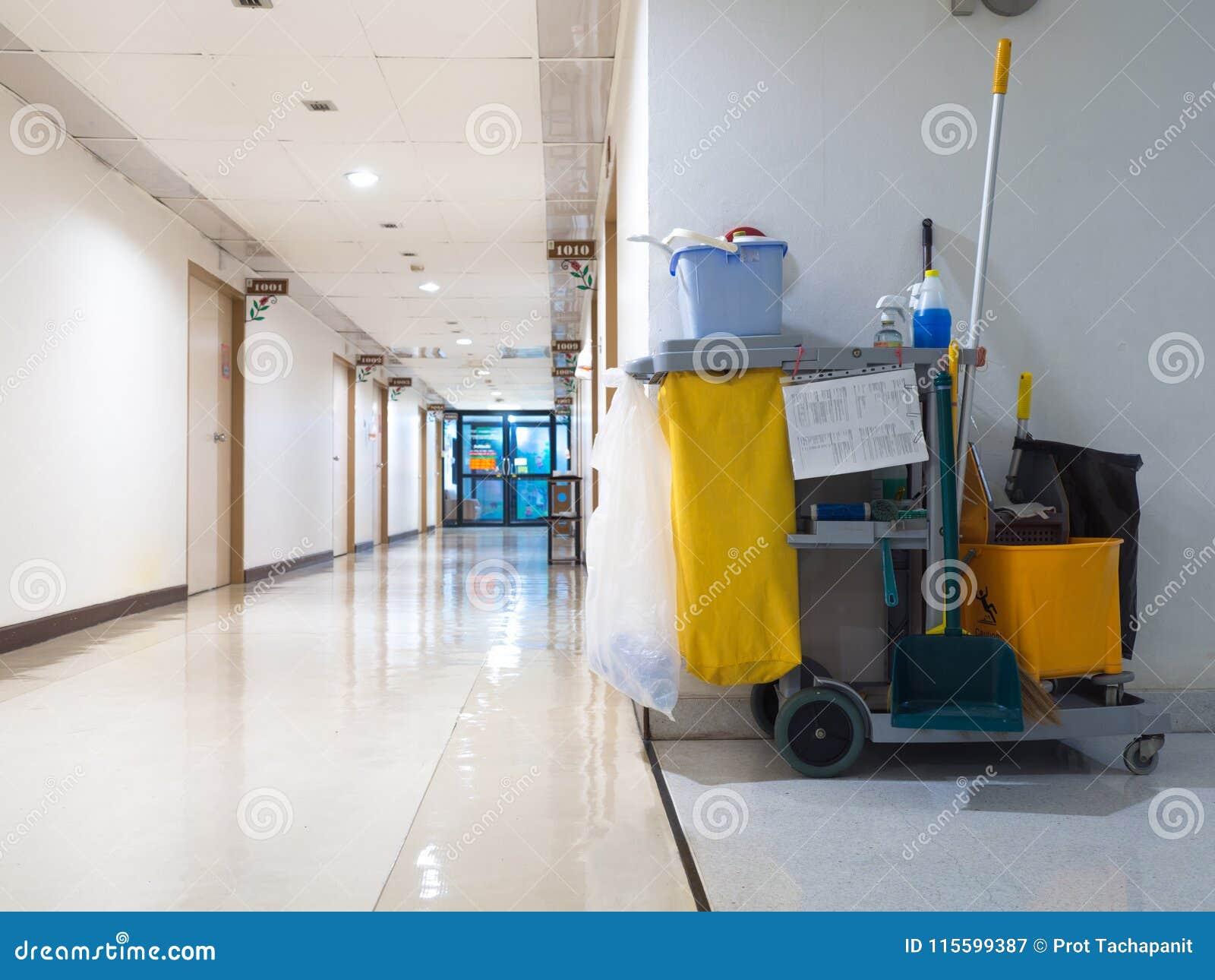 Espera do carro das ferramentas da limpeza para a empregada doméstica ou o líquido de limpeza no hospital Cubeta e grupo de equip