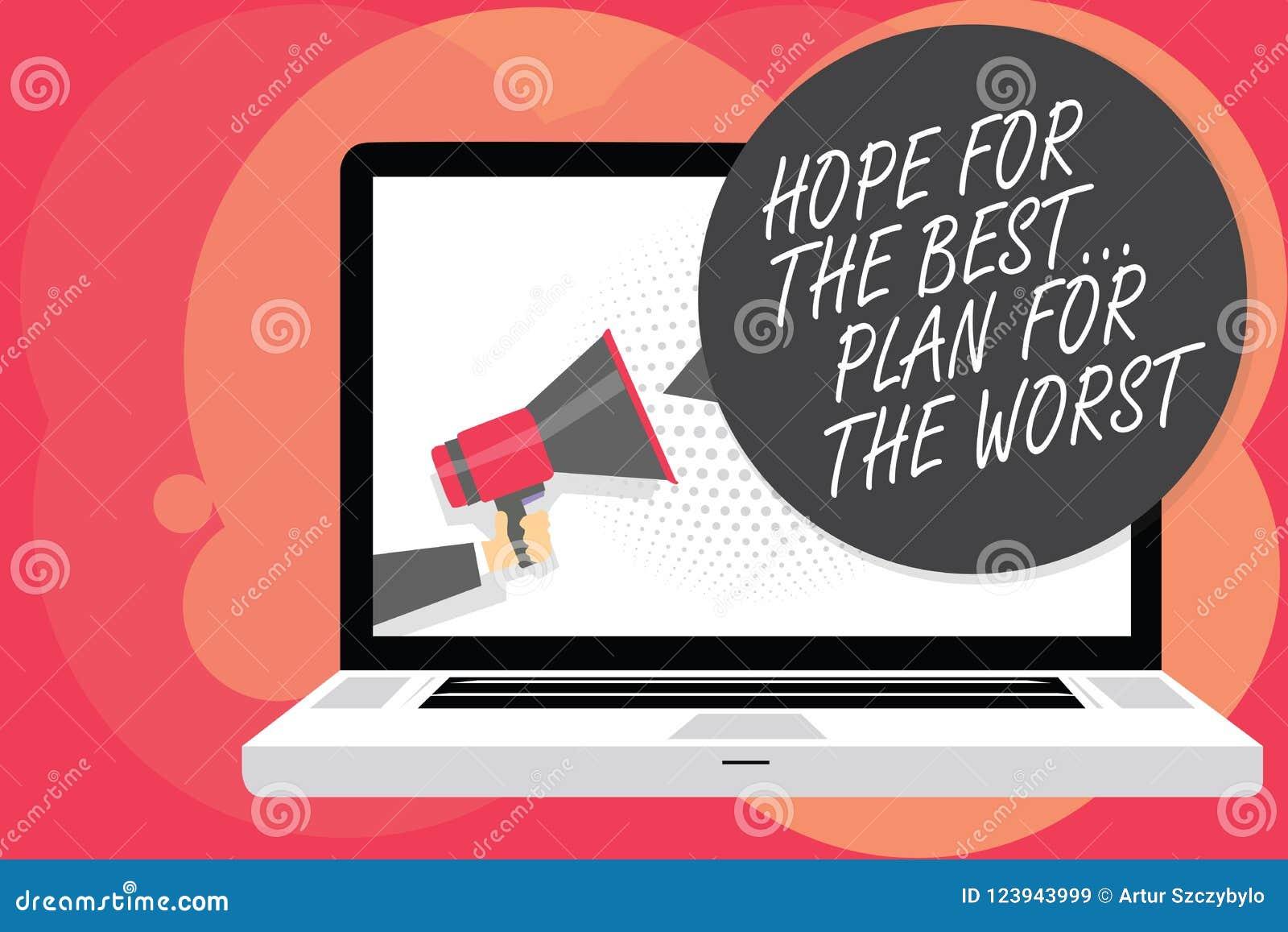 Esperanza del texto de la escritura de la palabra del mejor Planee para el concepto peor del negocio para los planes Make buenos
