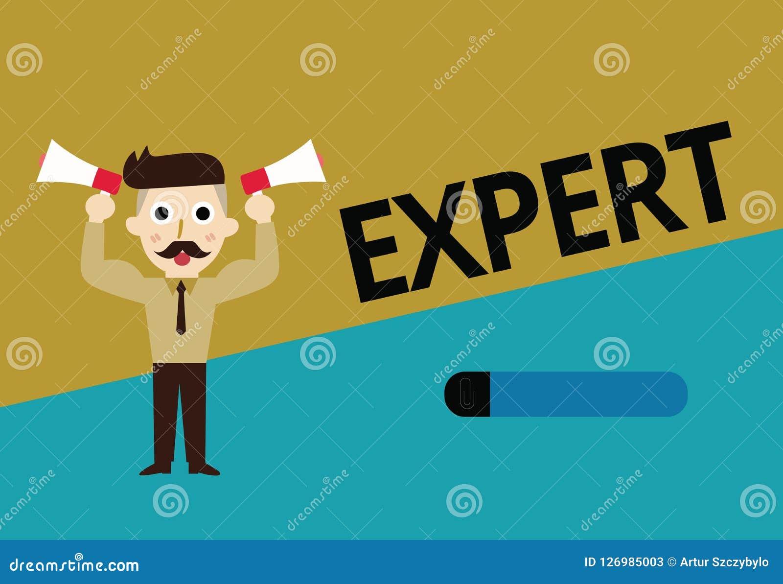 Esperto nel testo della scrittura Persona di significato di concetto che è molto informata circa o in particolare area abile Illustrazione di Stock