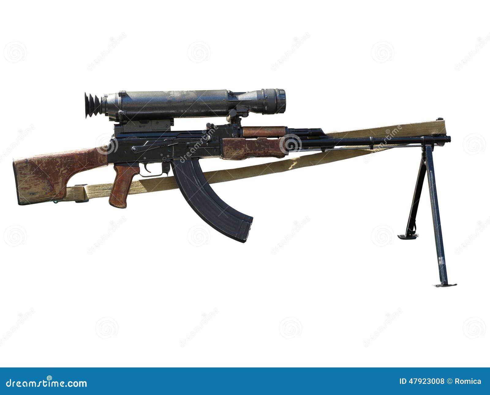 Espingarda de assalto do Kalashnikov AK com vista ótica isolada no whit