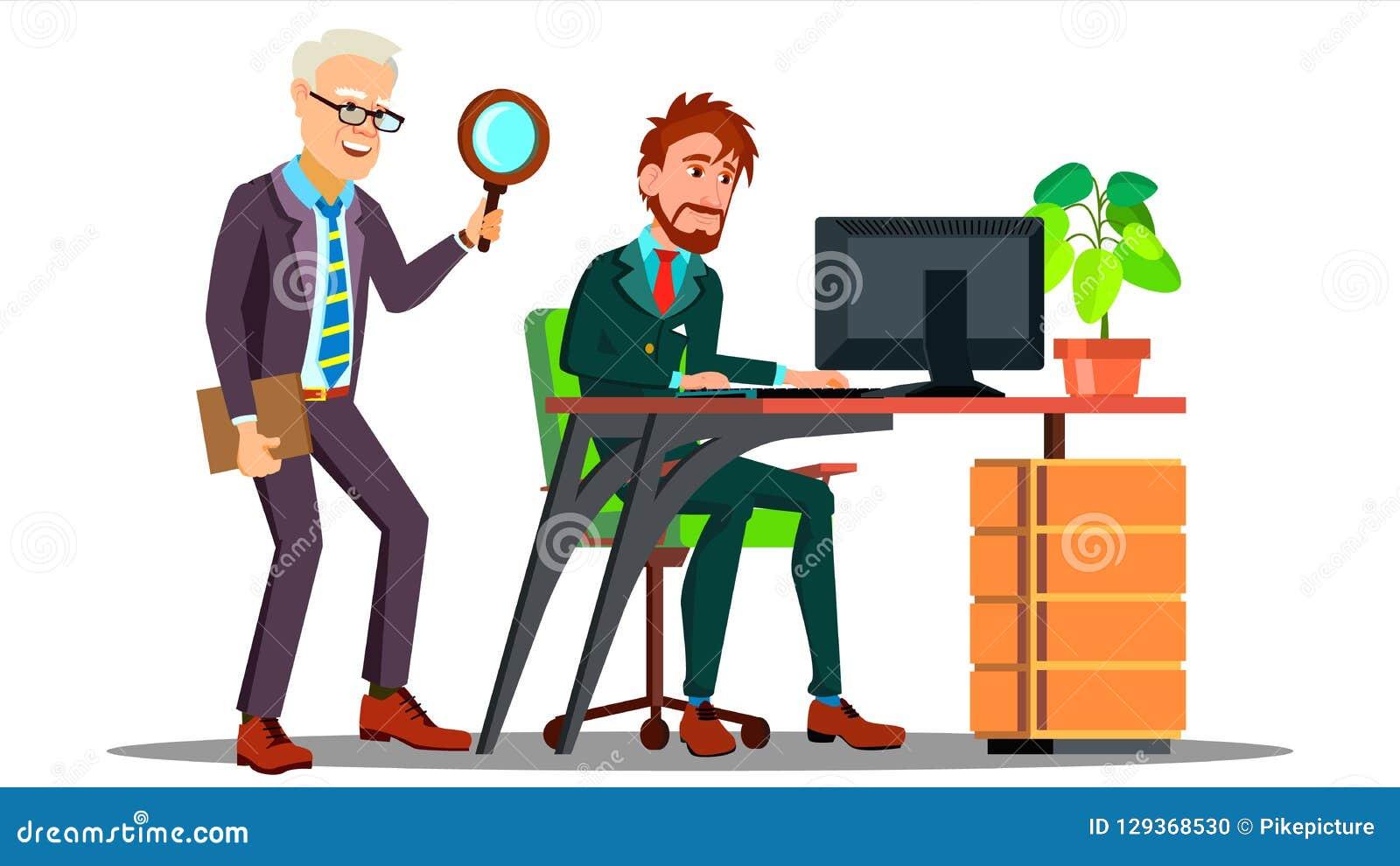 Espionnage d affaires, employé tenant la loupe se tenant derrière l employé au bureau avec le vecteur d ordinateur D isolement