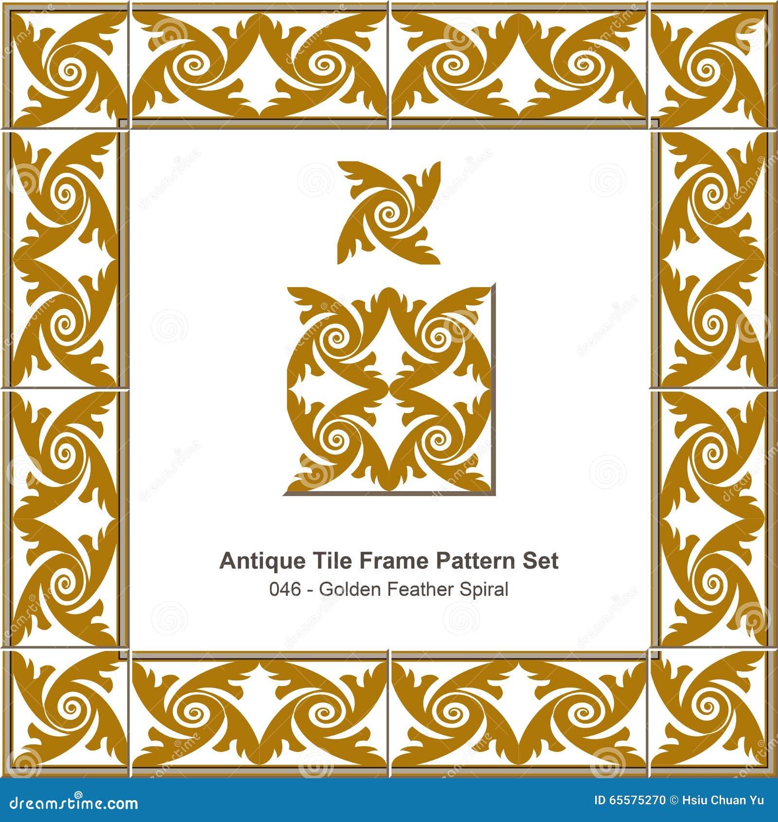 Espiral dourada antiga da pena do teste padrão set_046 do quadro da telha