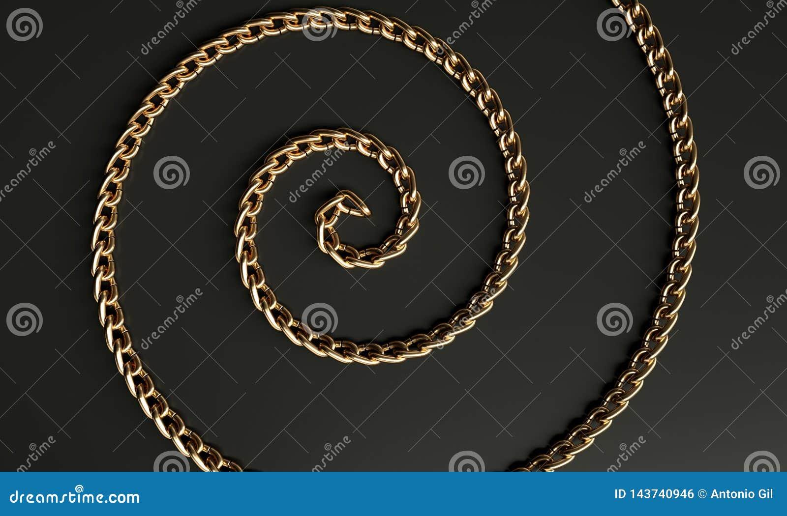 Espiral metálica dourada