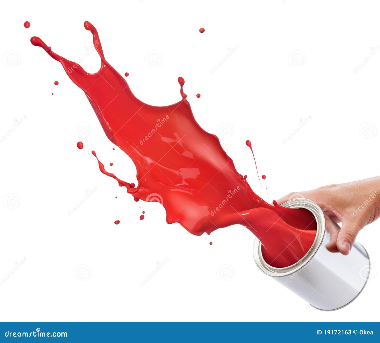 Espirrando a pintura vermelha