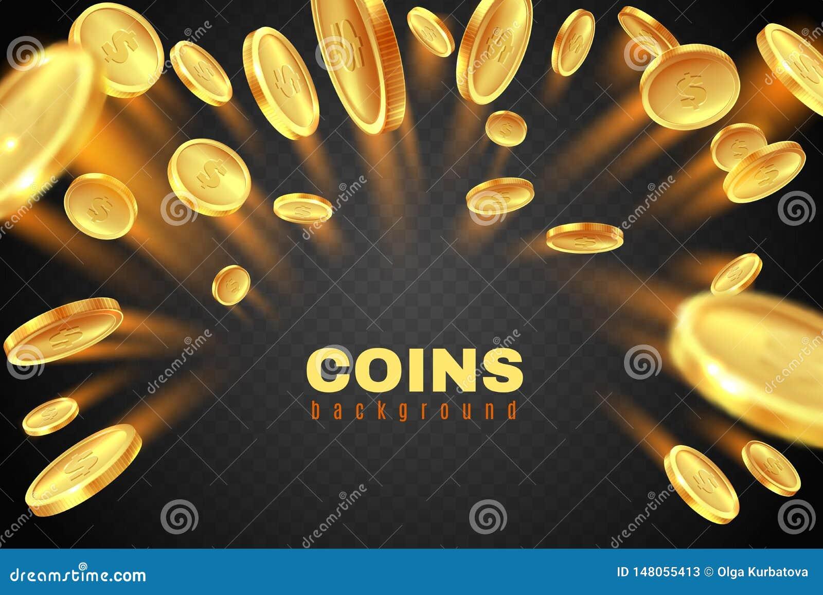 Esplosione della moneta di oro Pioggia dorata delle monete del dollaro Spruzzata del premio in denaro del gioco Concetto di vetto